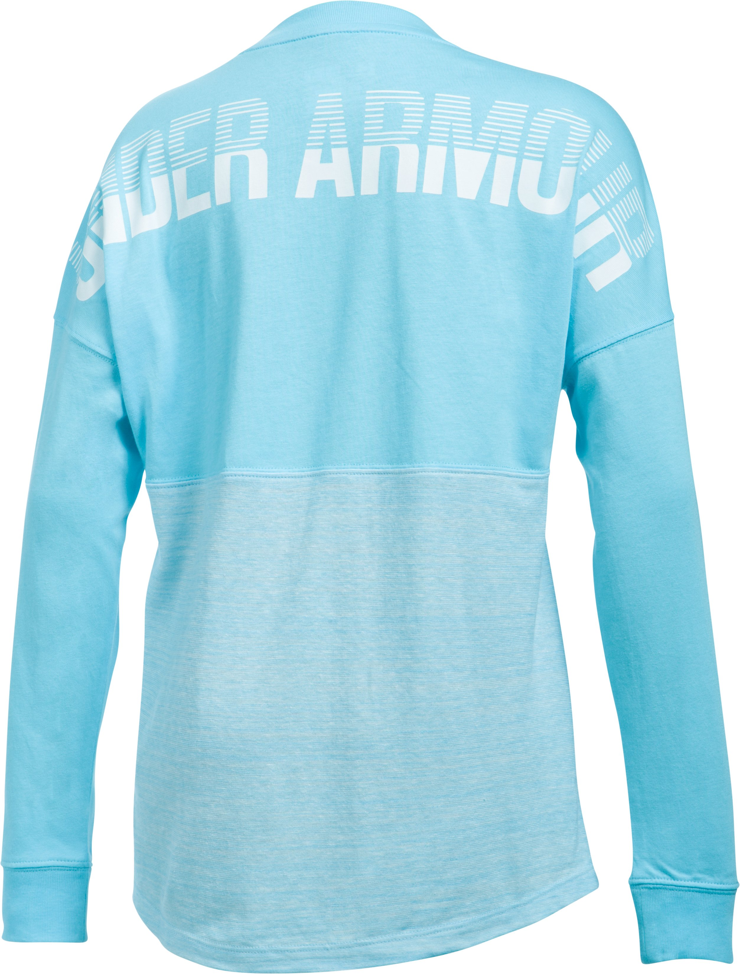 Girls' UA Varsity Crew Long Sleeve, Venetian Blue, zoomed image