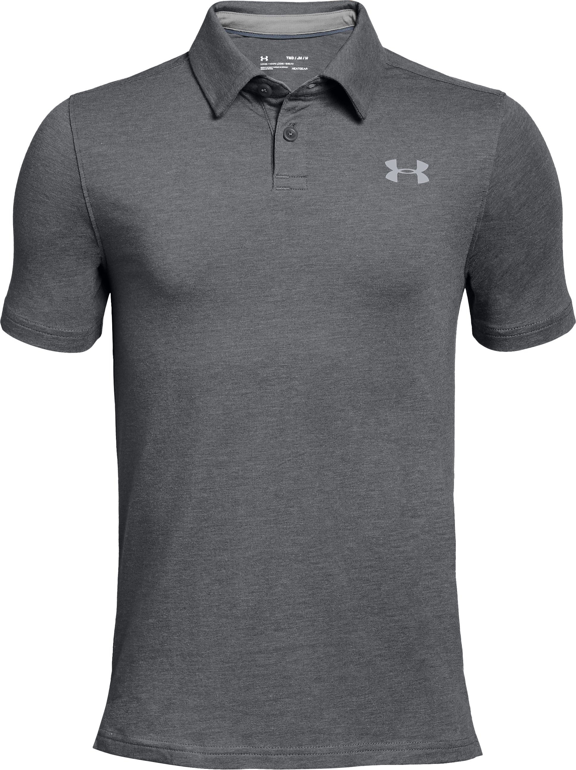 Boys' Charged Cotton® Heather Polo, Graphite,