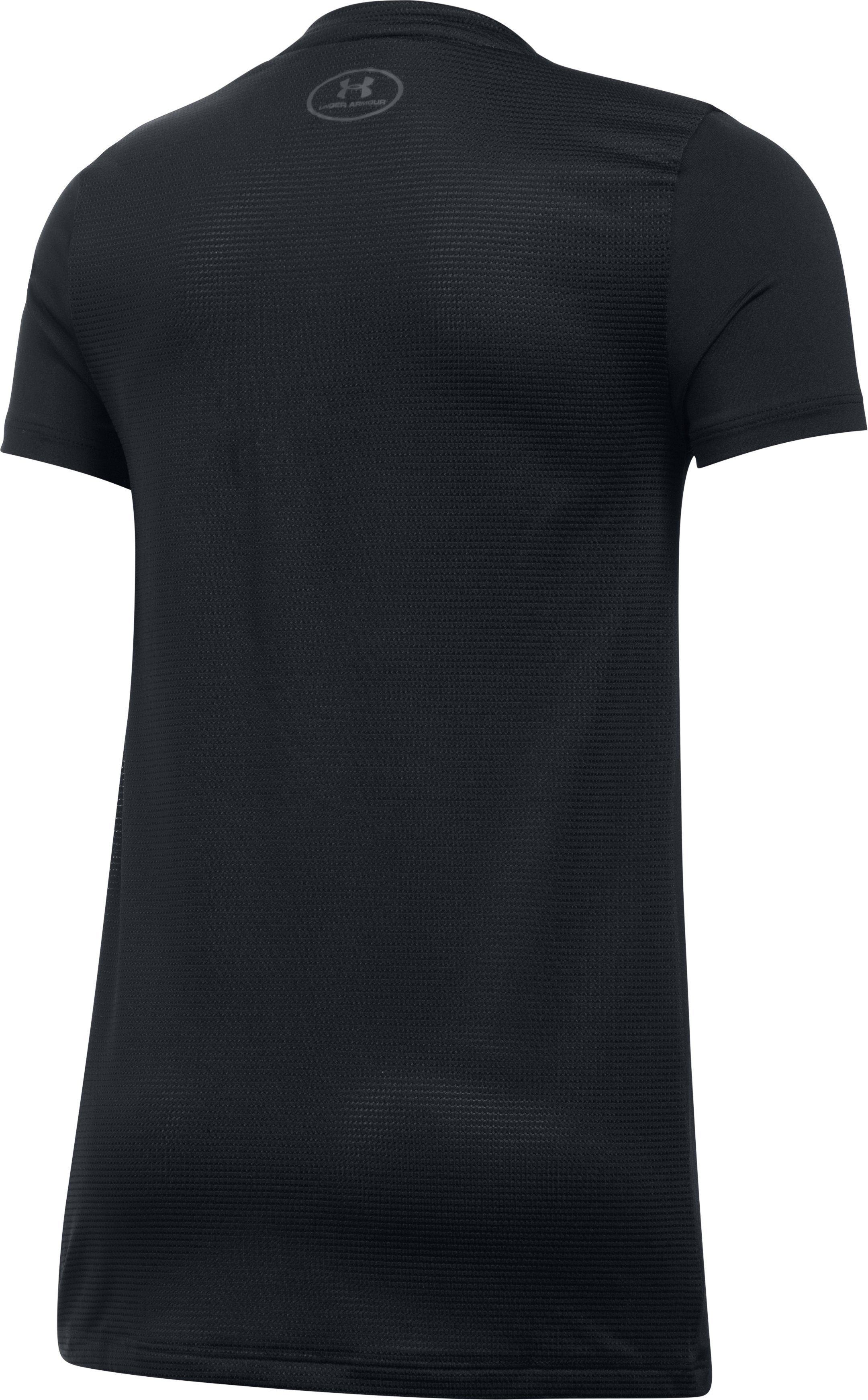 Girls' UA Armour® Short Sleeve, Black ,