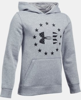 New to Outlet Boys' UA Freedom Logo Rival Hoodie LIMITED TIME OFFER 1 Color $34.99