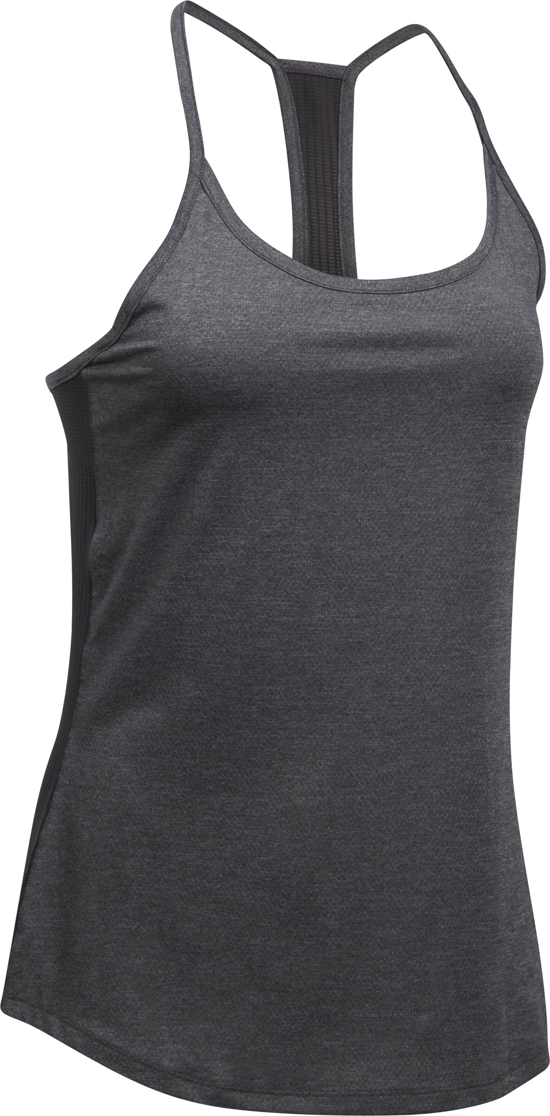 Women's UA Fly-By Racerback Tank, Carbon Heather,