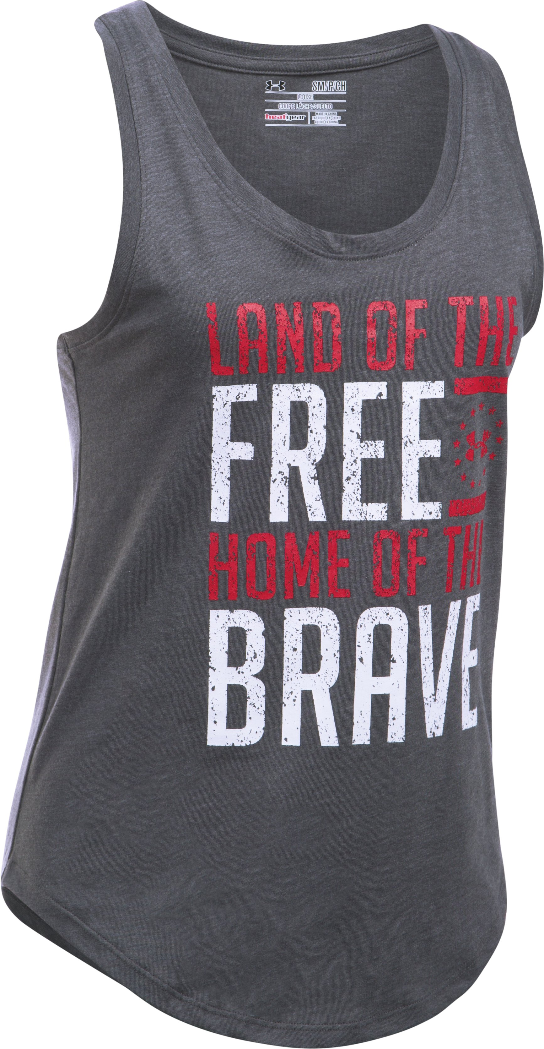 Women's UA Charged Cotton® Tri-Blend Freedom Brave Tank, Carbon Heather,