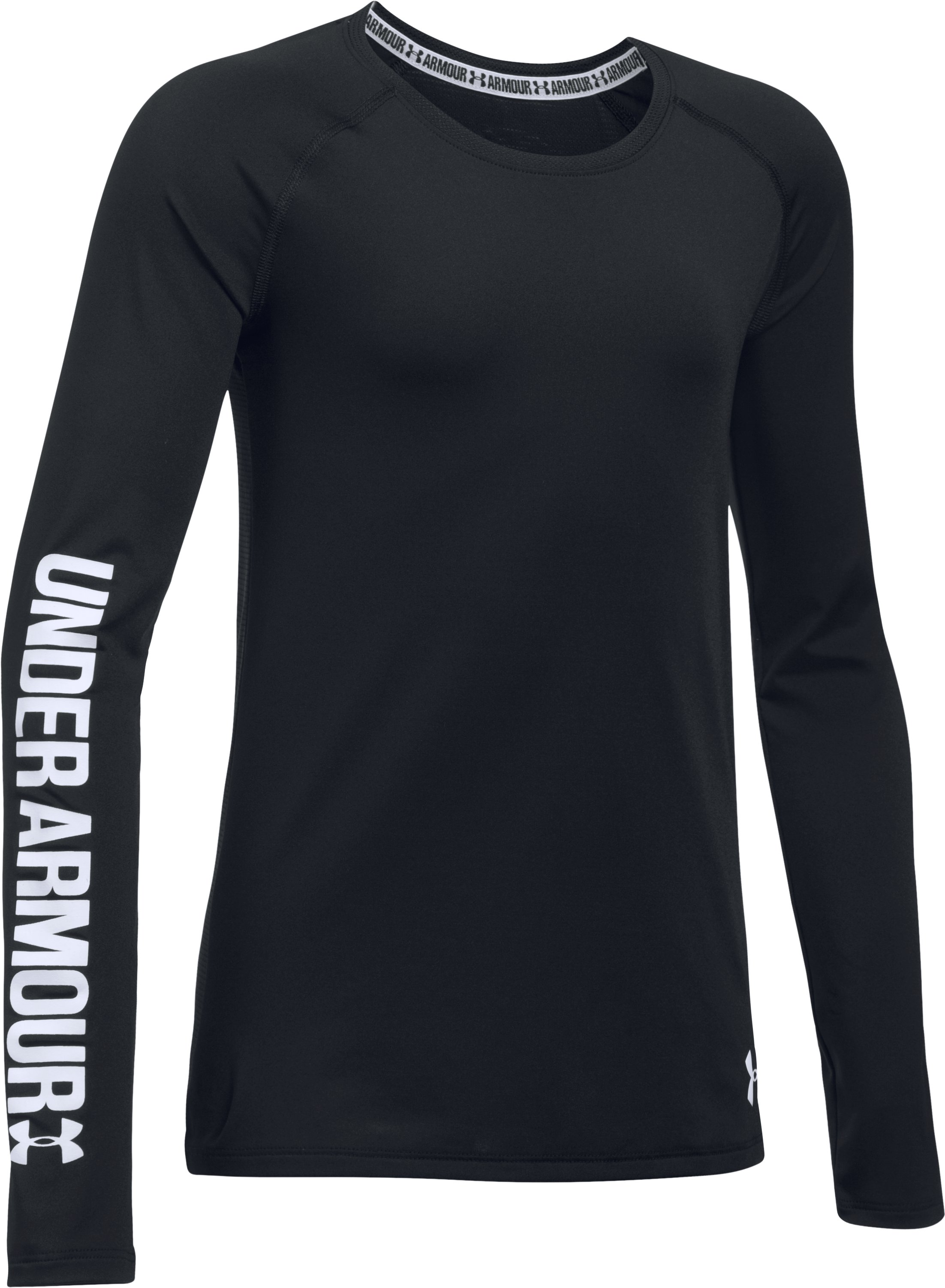 Girls' UA HeatGear® Armour Long Sleeve, Black , undefined