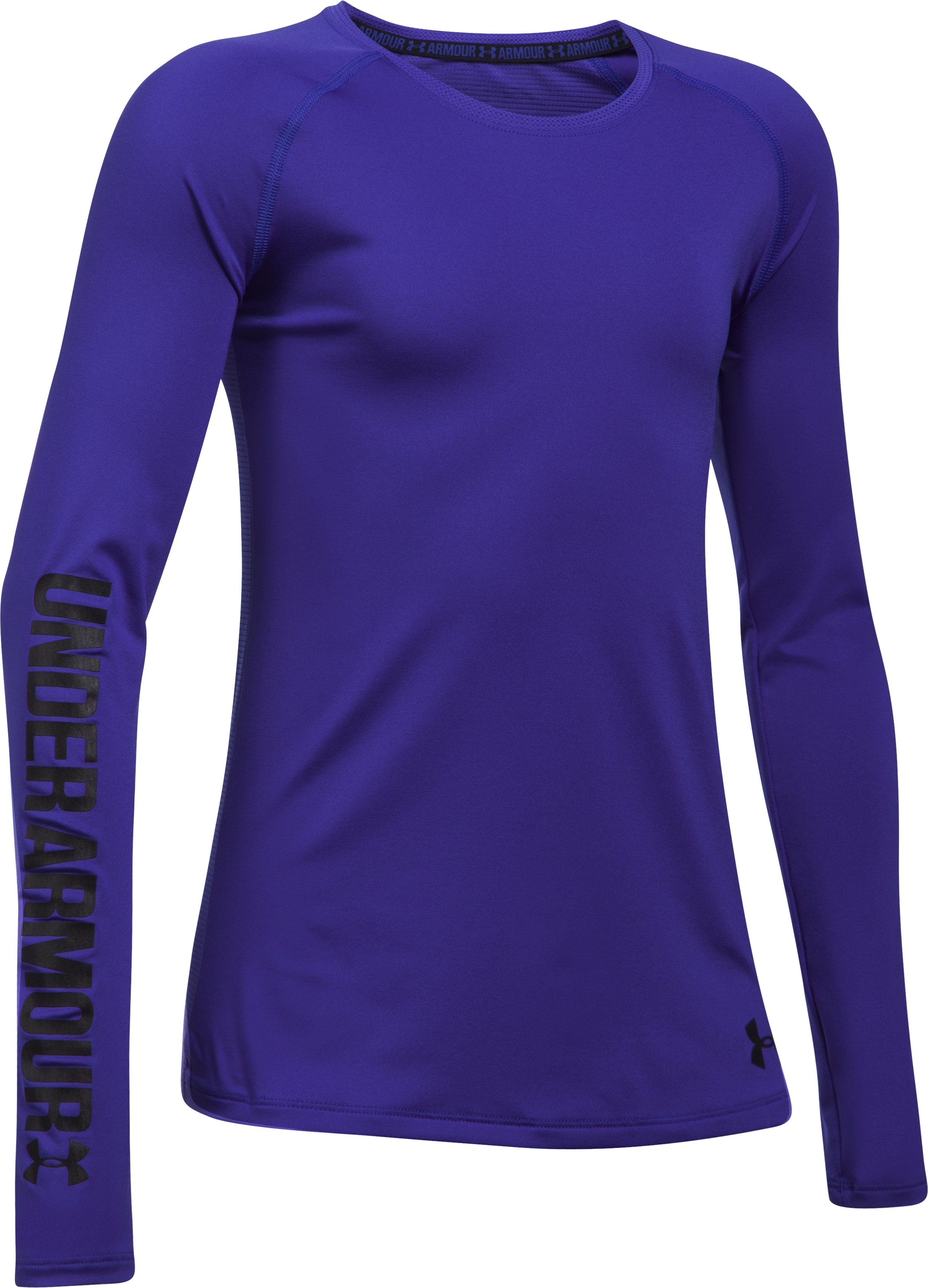 Girls' UA HeatGear® Armour Long Sleeve, CONSTELLATION PURPLE