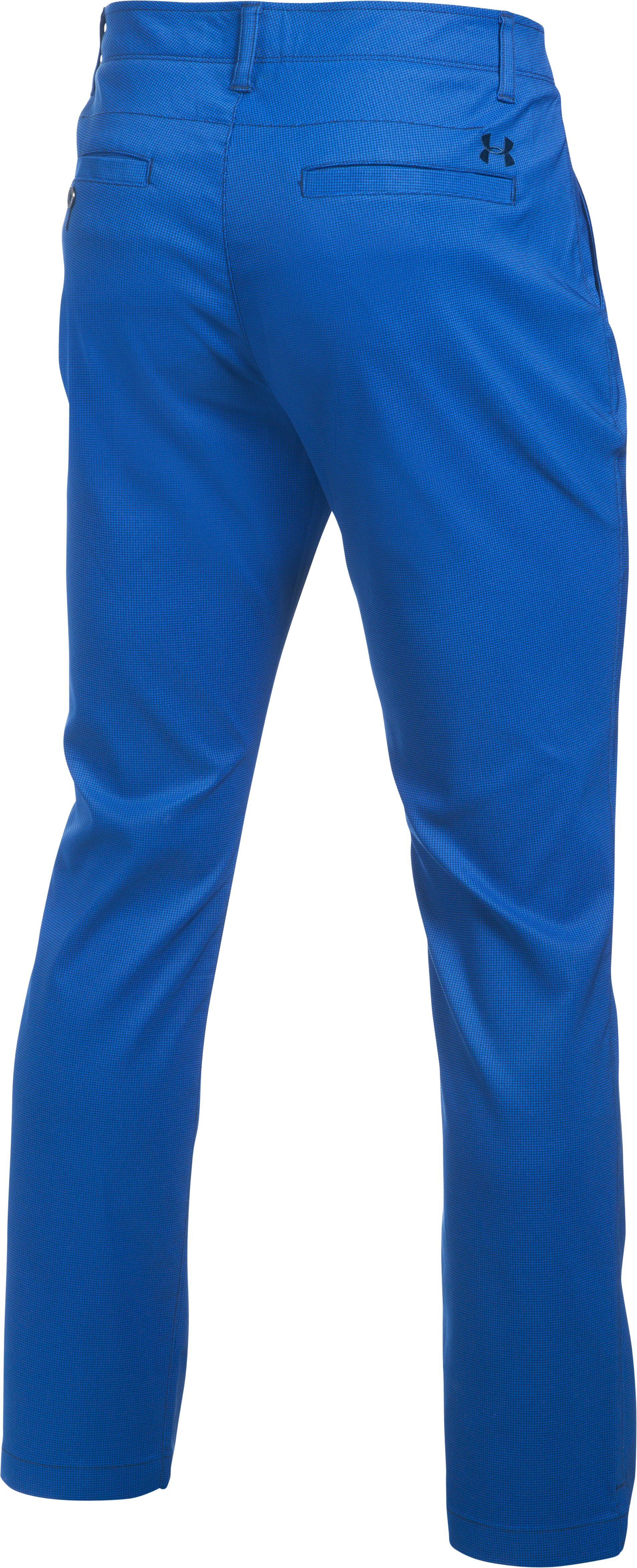 Men's UA Match Play Tapered Houndstooth Pants, BLUE MARKER