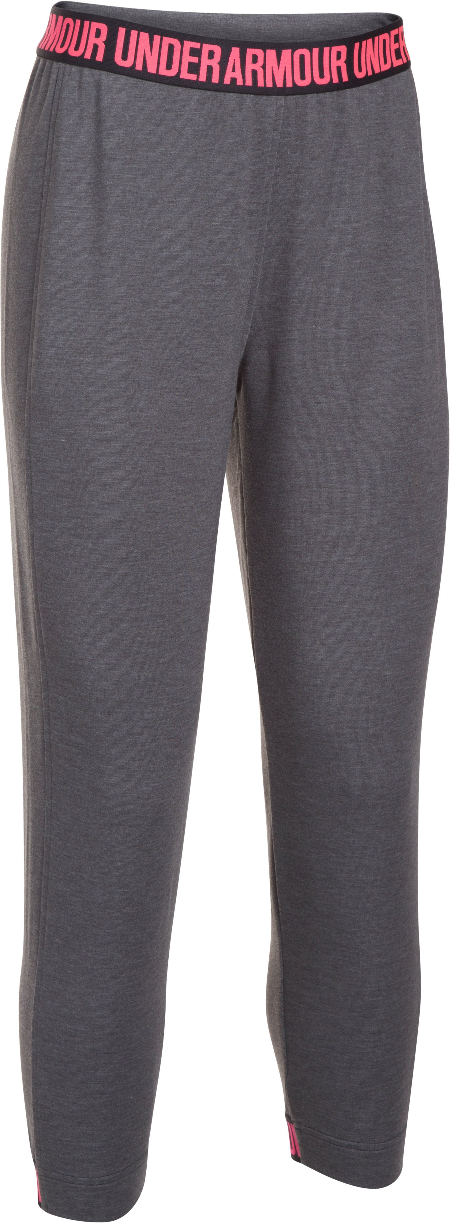 Women's UA Featherweight Fleece Crop, Carbon Heather, undefined