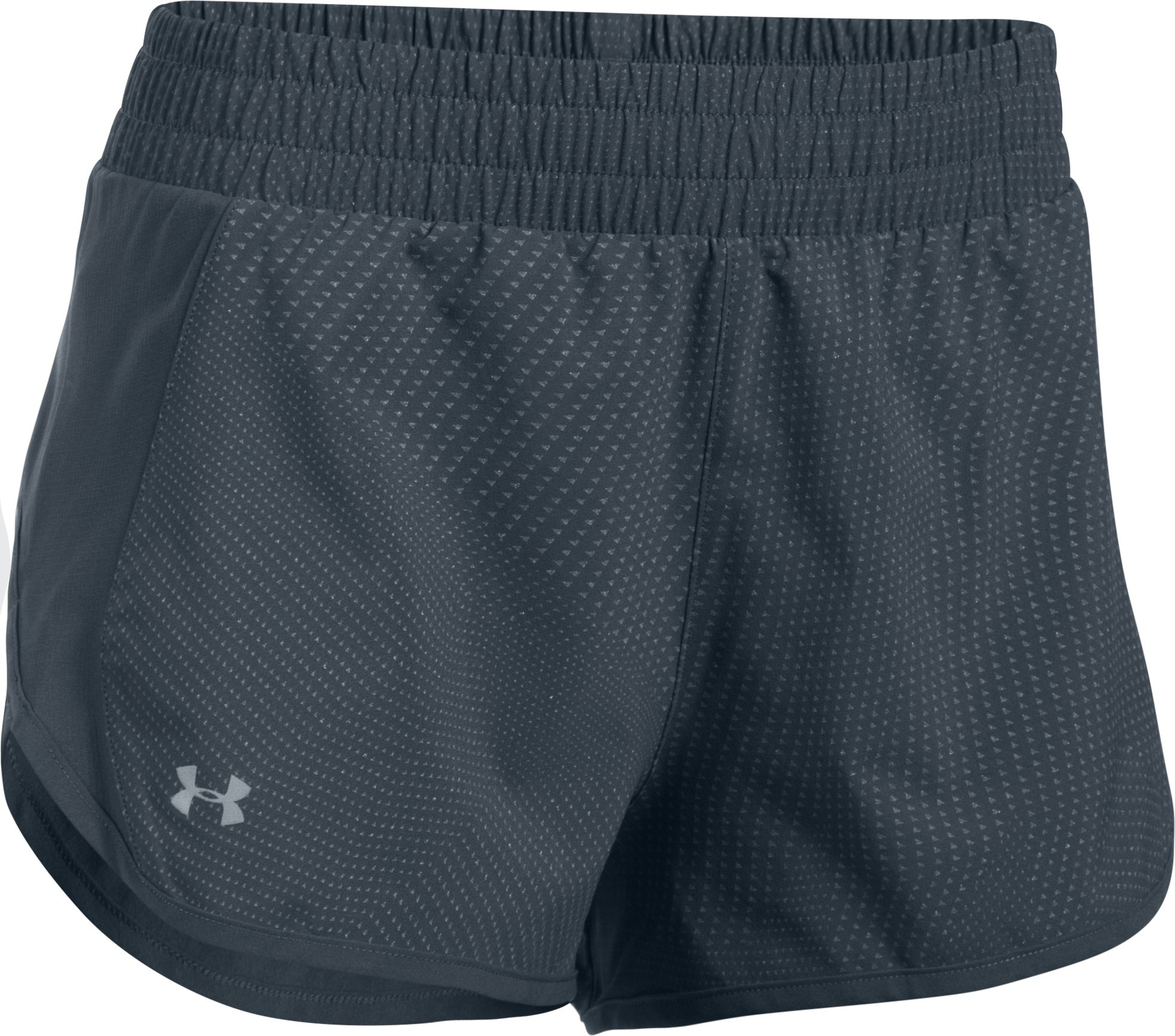 Women's UA Launch Tulip Reflective Printed Shorts, STEALTH GRAY, undefined