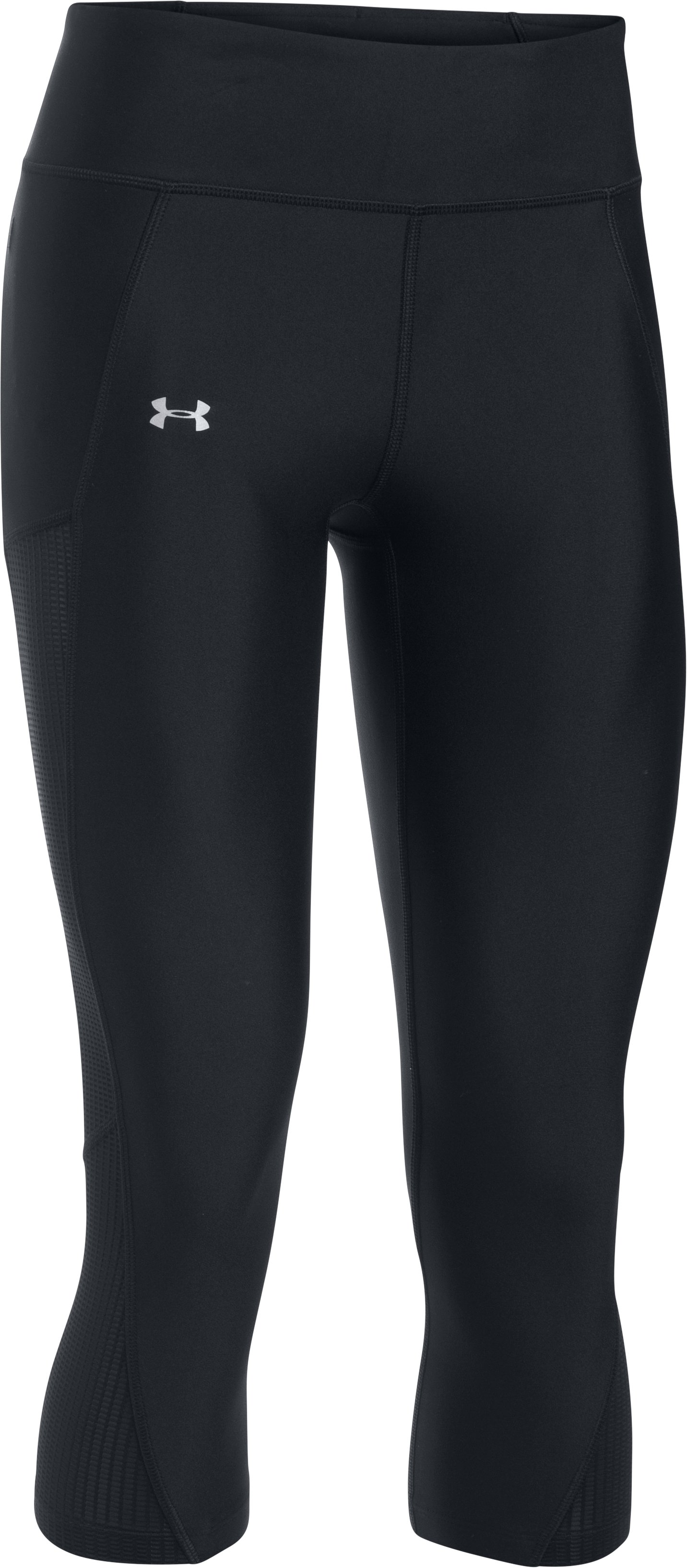 Women's UA Fly-By Mesh Inset Capris, Black ,
