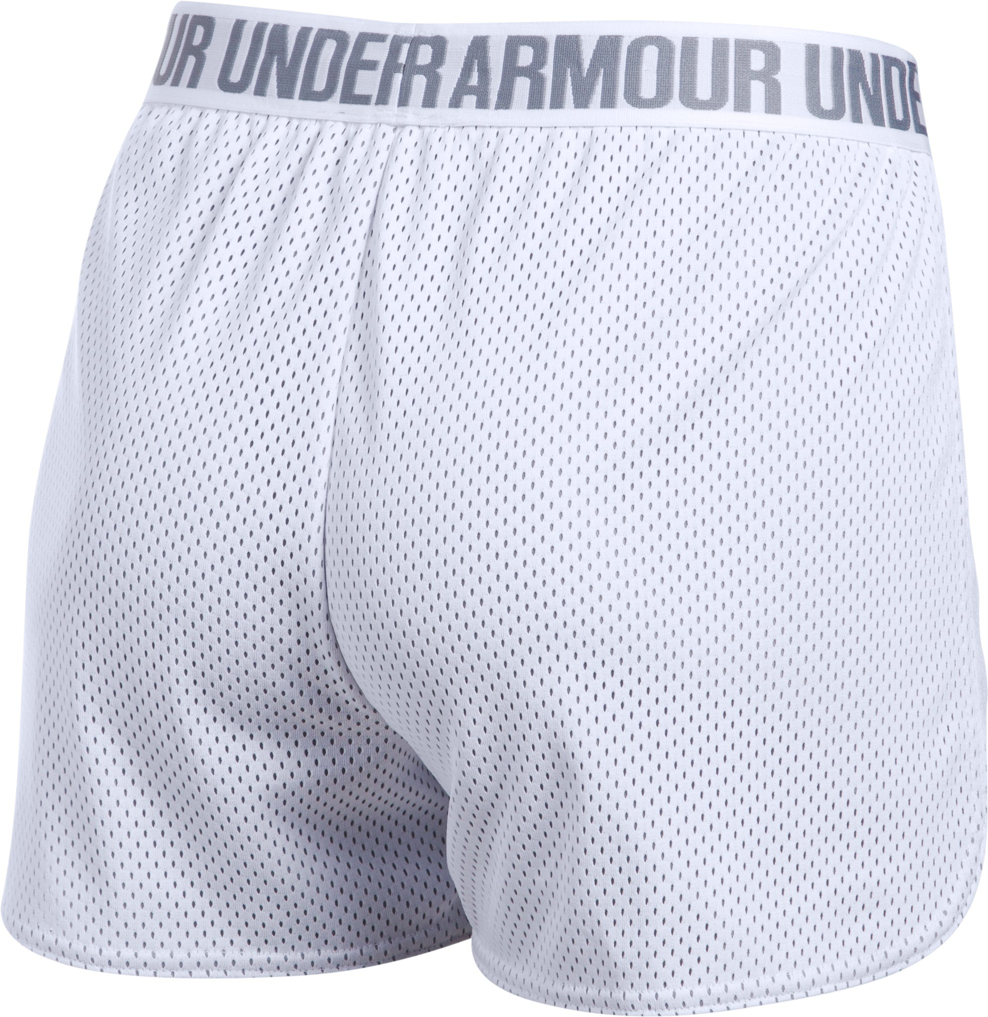 Women's UA Play Up Shorts 2.0 - Mesh, White,
