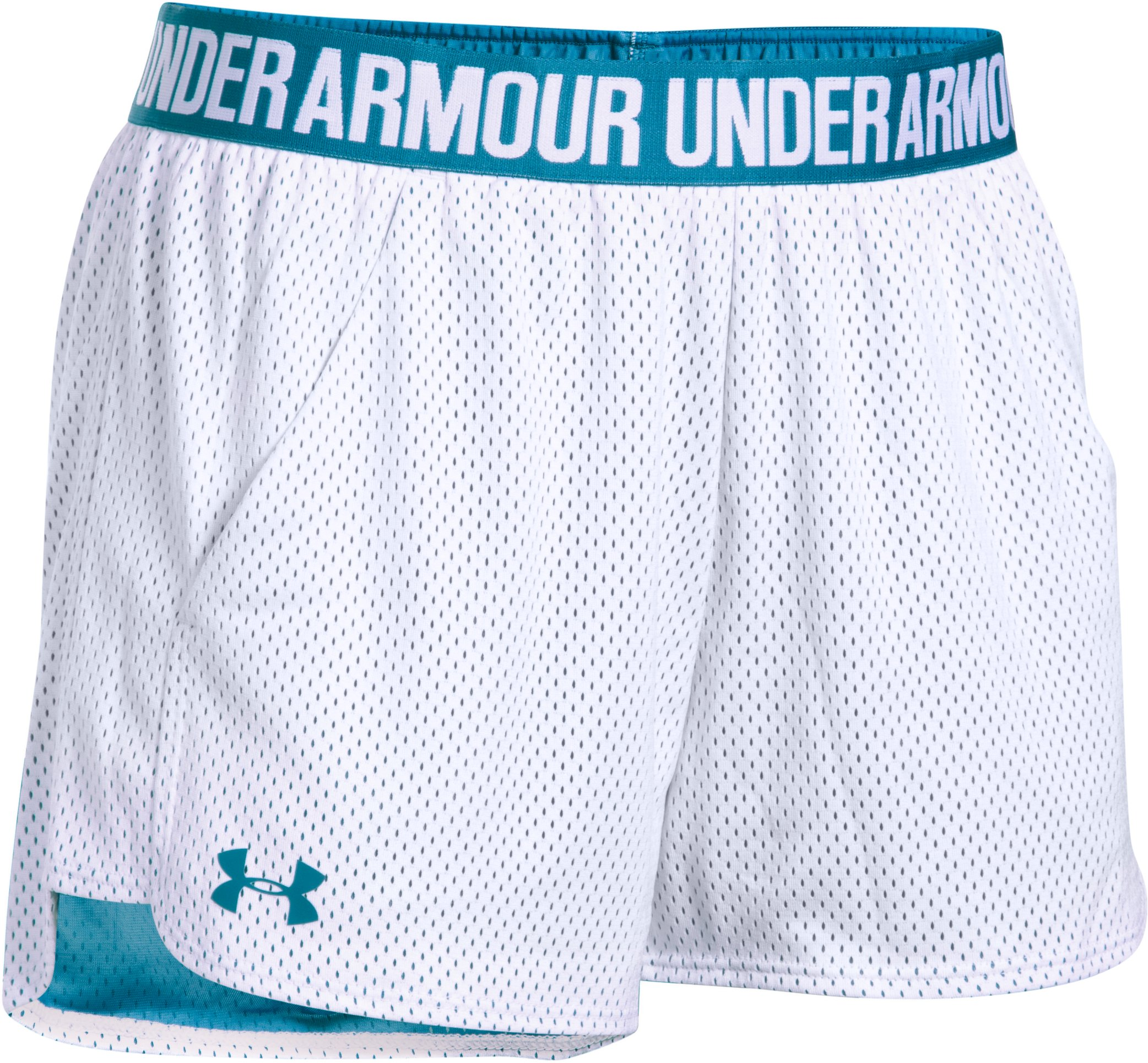 Women's UA Play Up Shorts 2.0 - Mesh, White, undefined