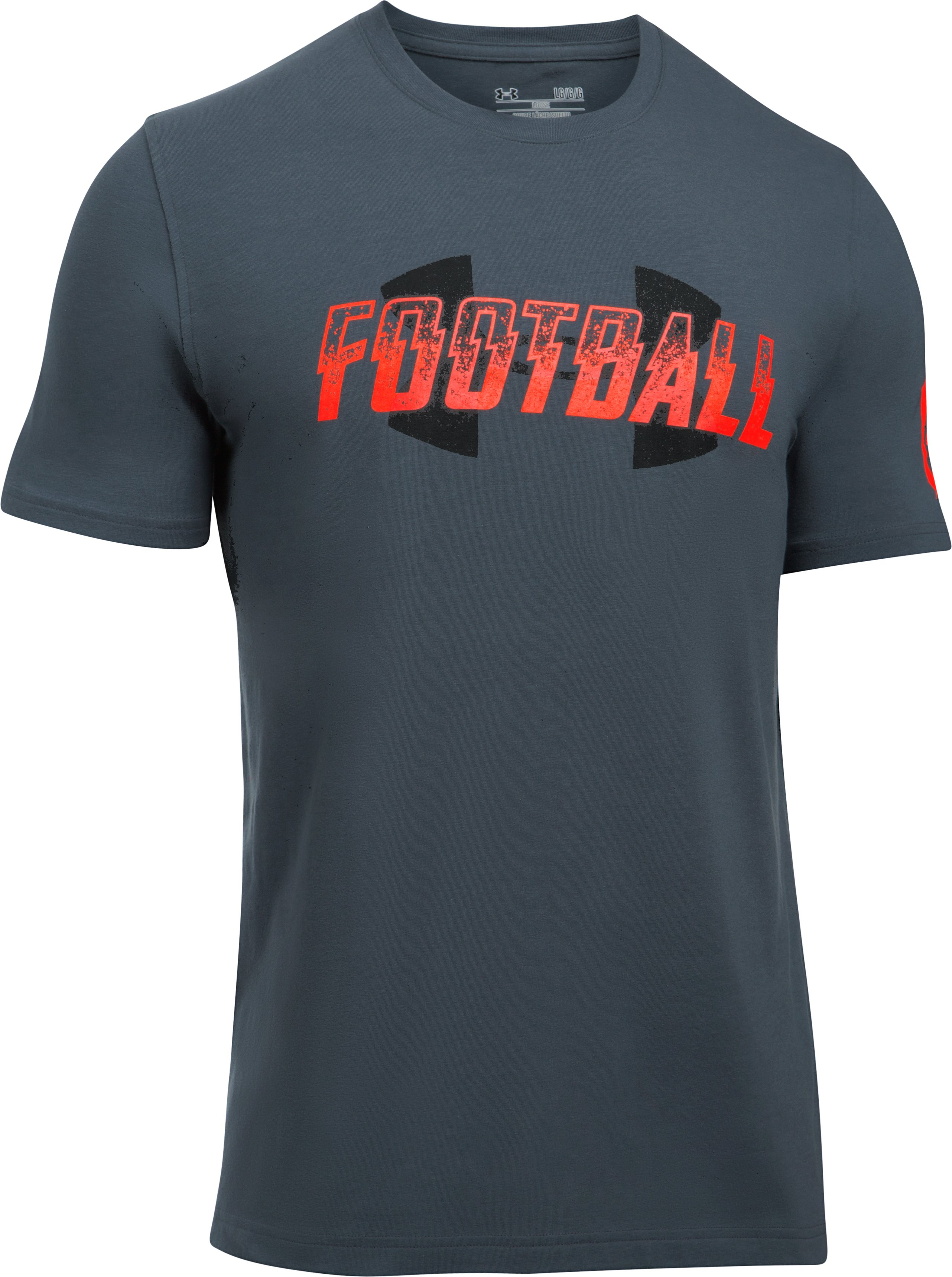 Men's UA Football Wordmark T-Shirt, STEALTH GRAY, undefined