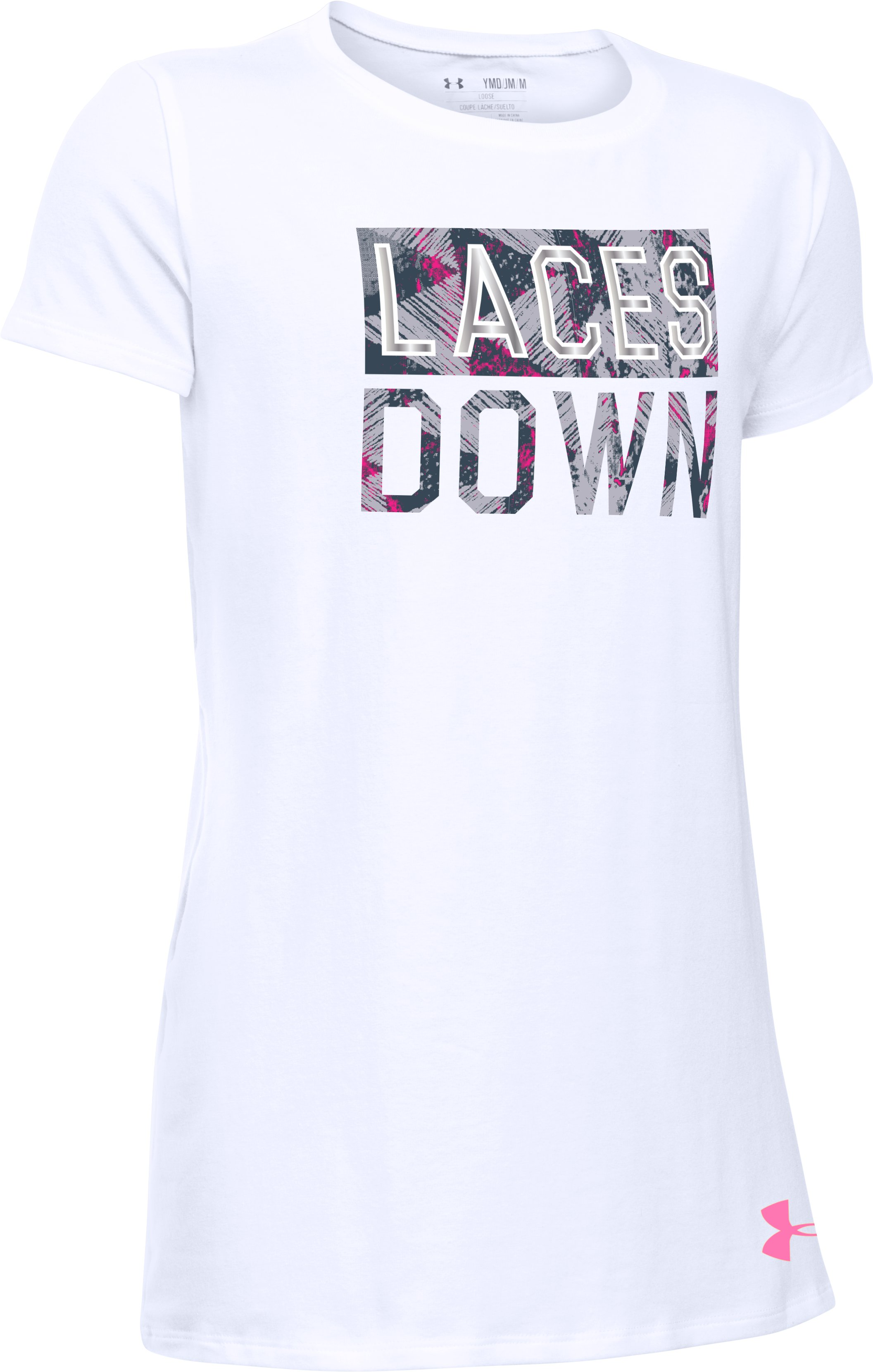 Girls' UA Laces Down Short Sleeve T-Shirt, White