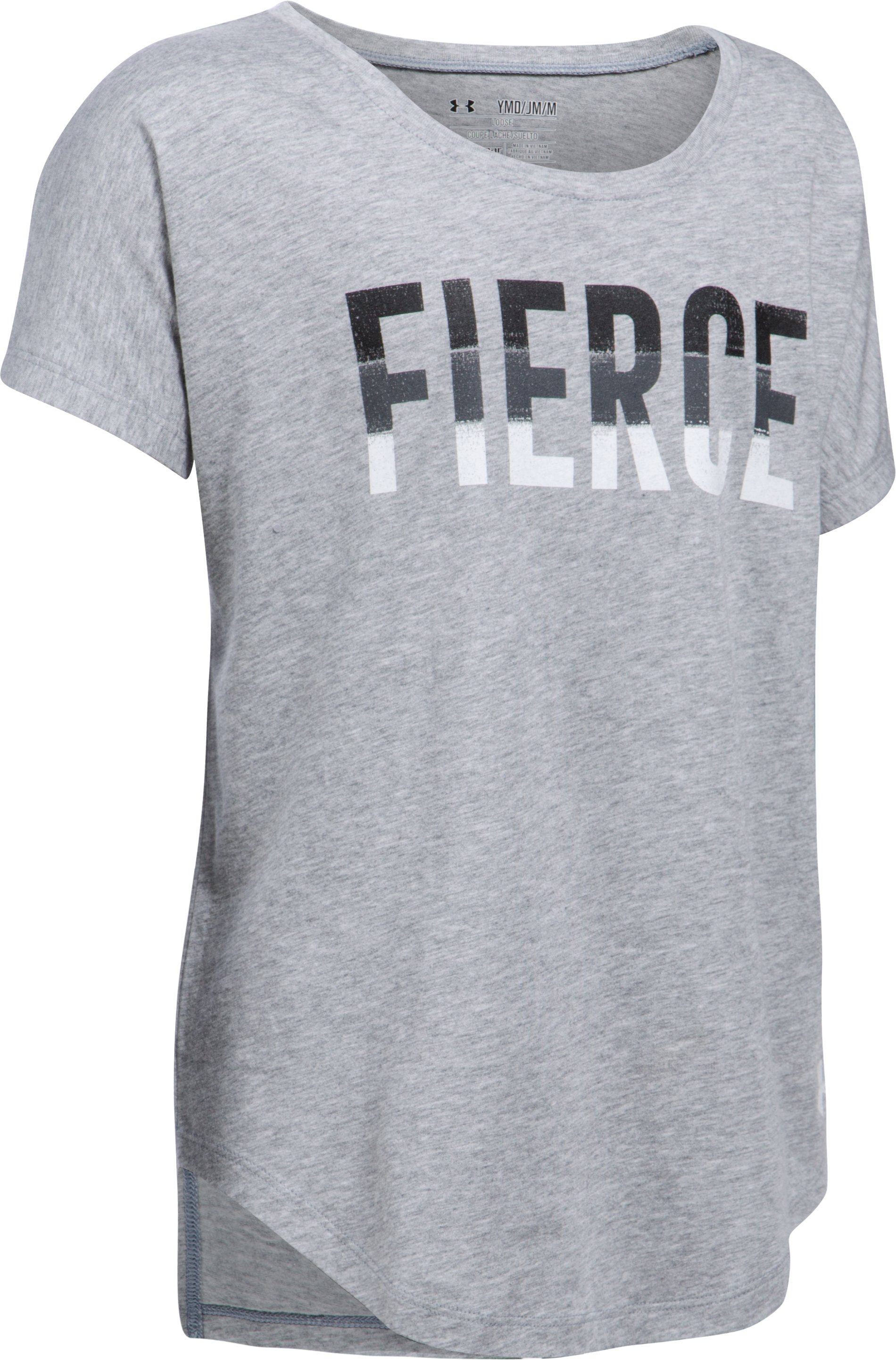 Girls' UA Fierce Short Sleeve T-Shirt, True Gray Heather,
