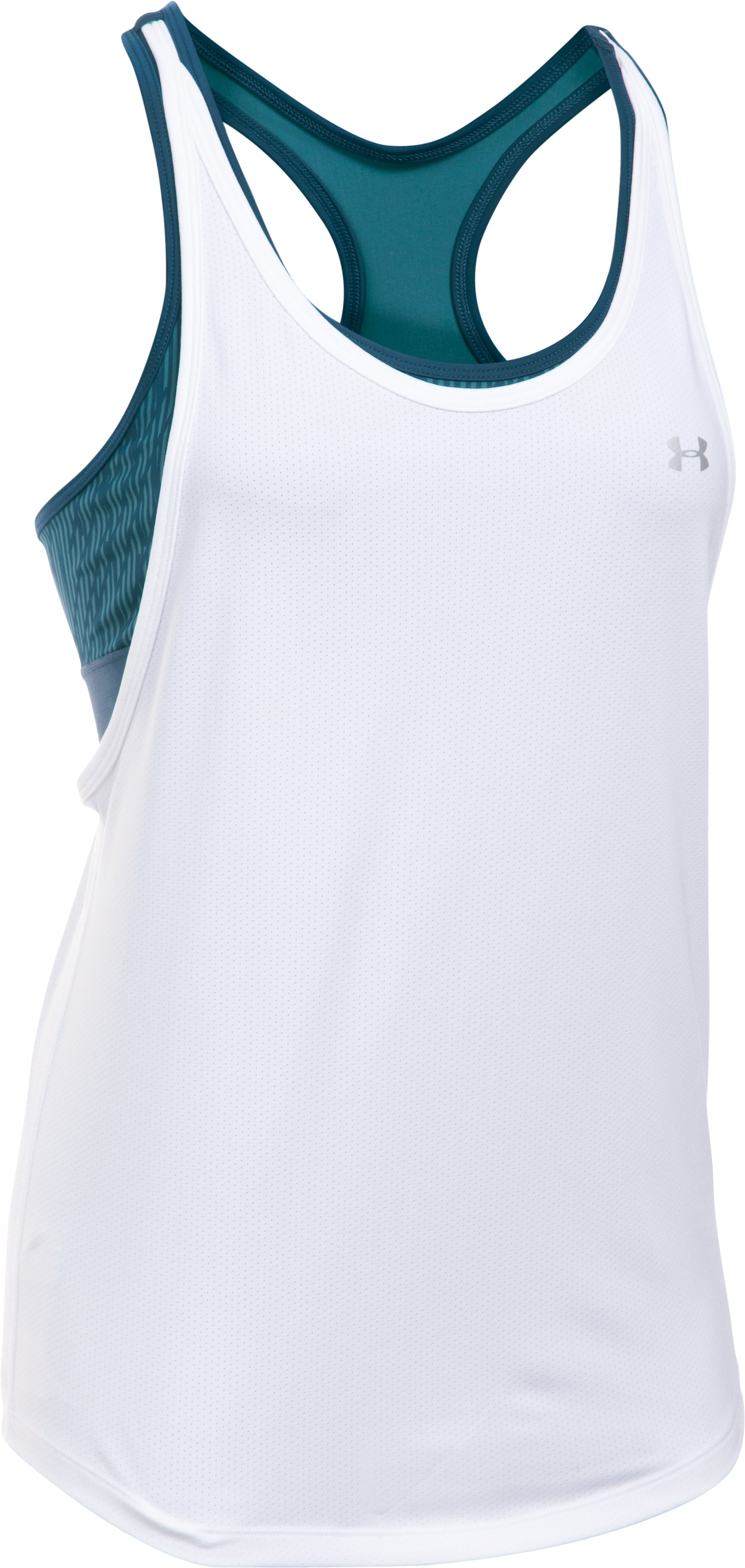 Women's HeatGear® Armour Printed 2-in-1 Tank, White, undefined