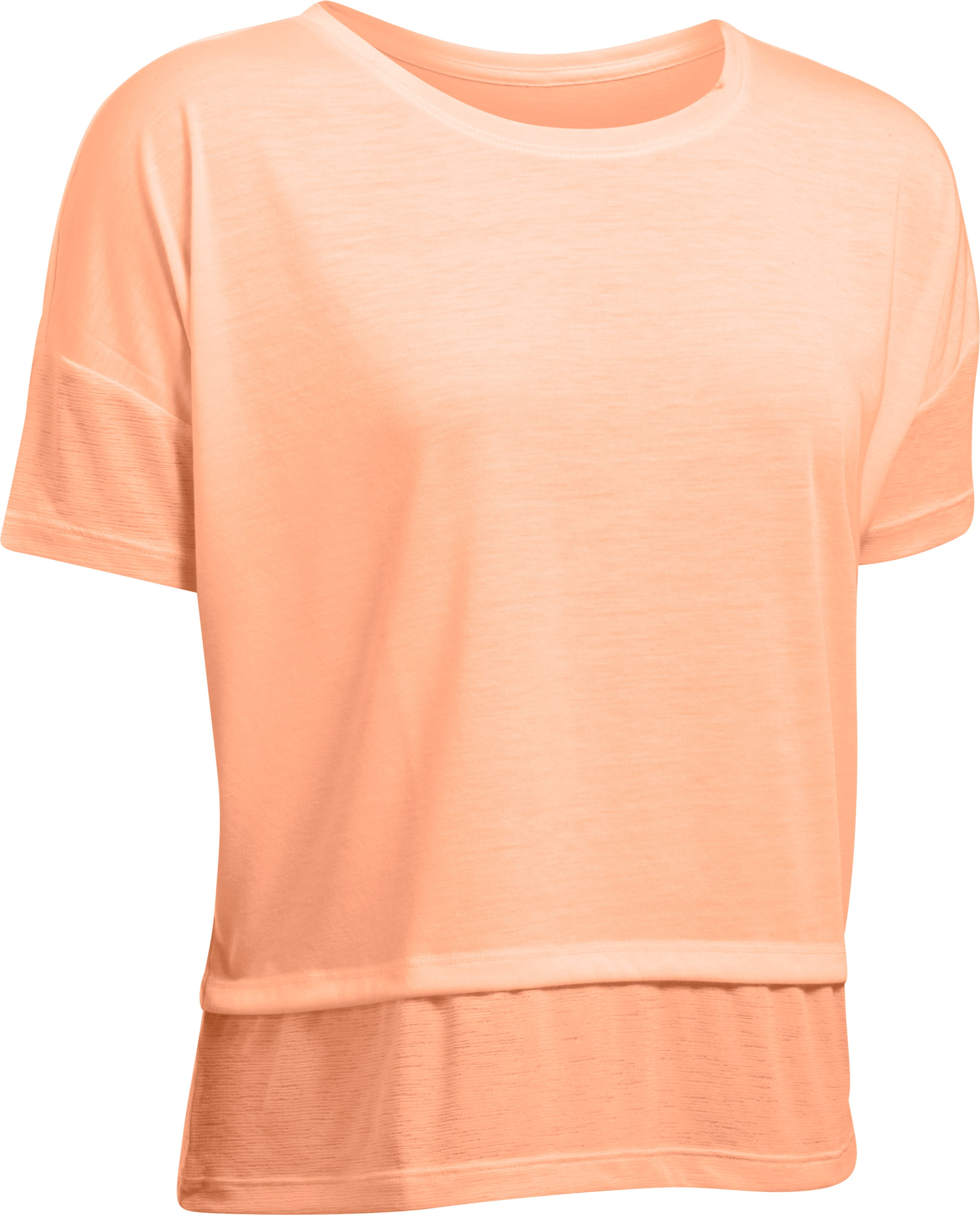 Women's UA Tech™ Slub Layered Short Sleeve, PLAYFUL PEACH