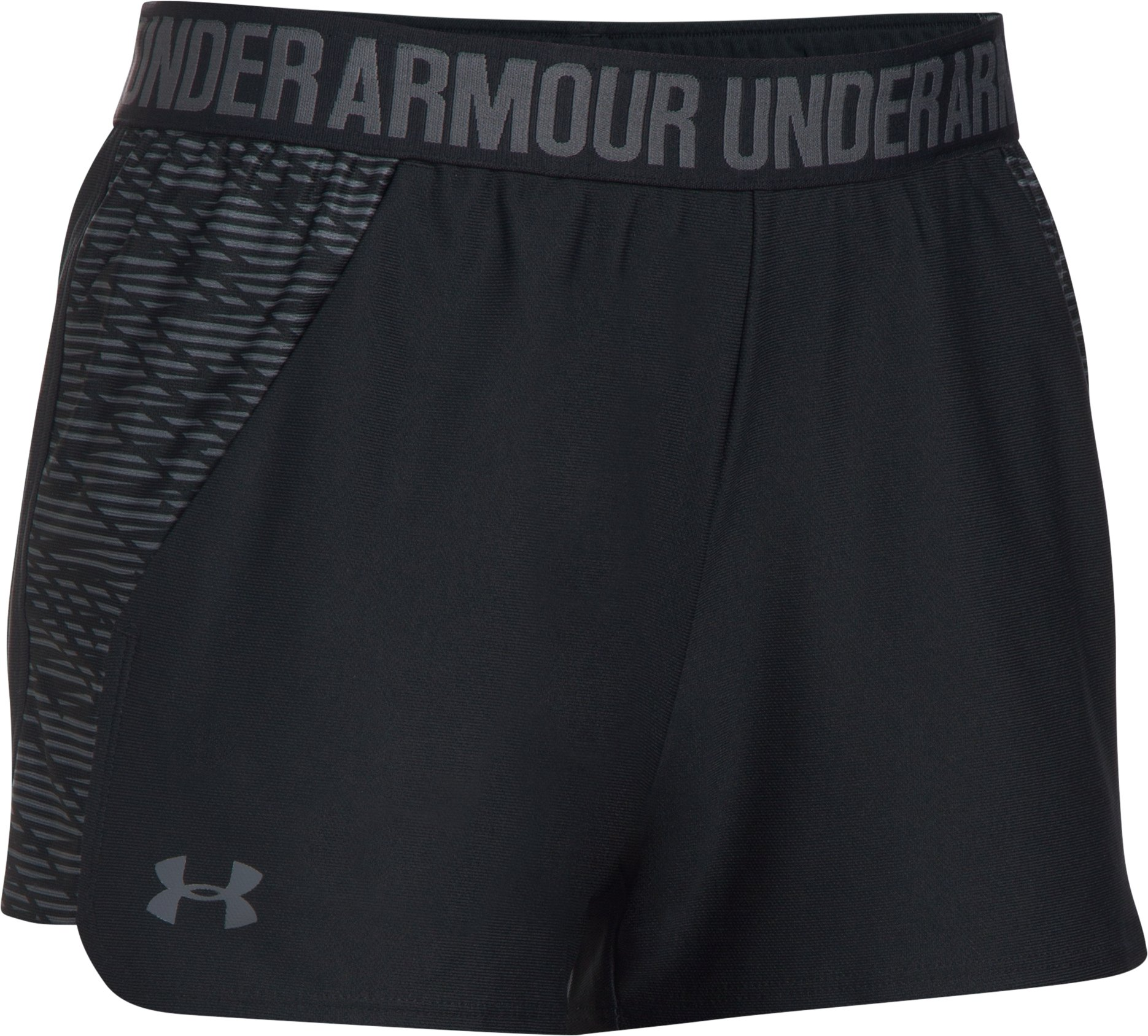 Women's UA Play Up Shorts 2.0 - Printed, Black ,