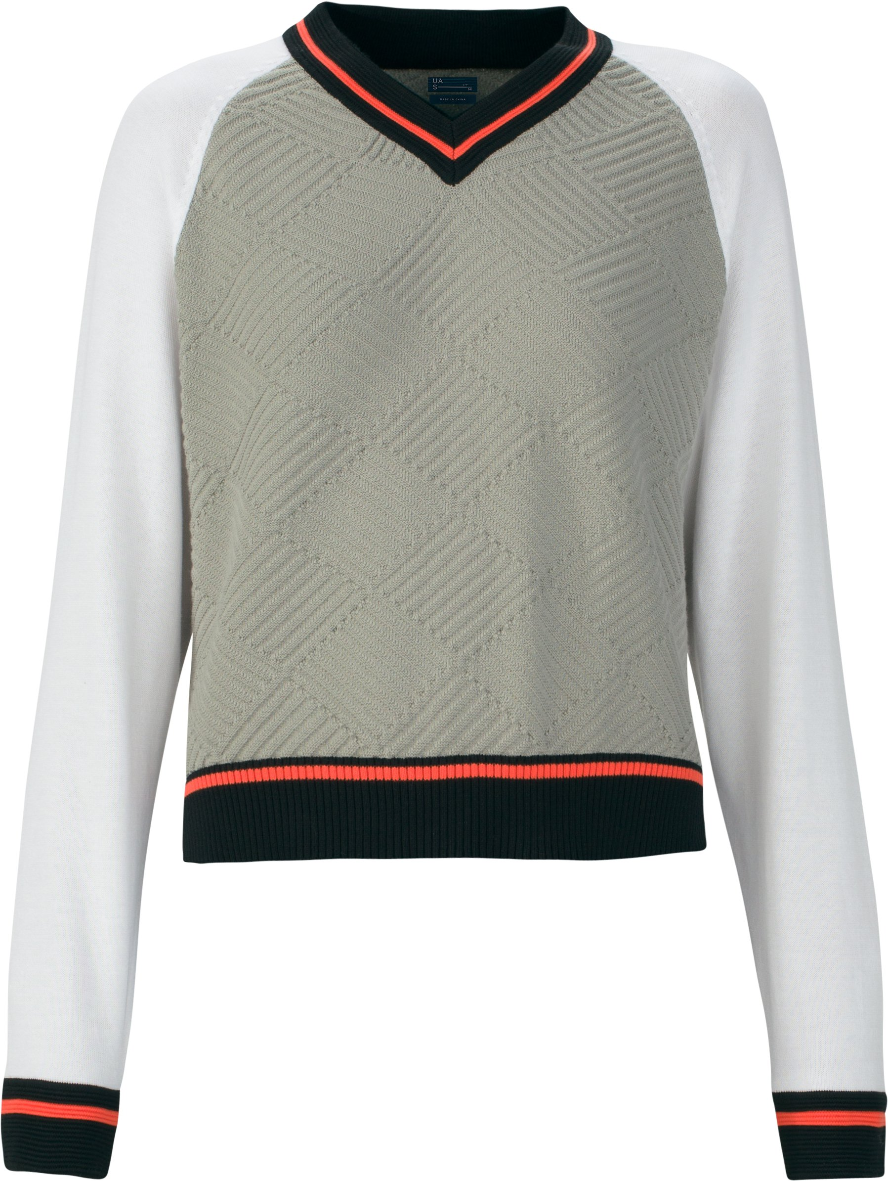 Women's UAS Fieldhouse V-Neck Knit Sweater, Gray, undefined