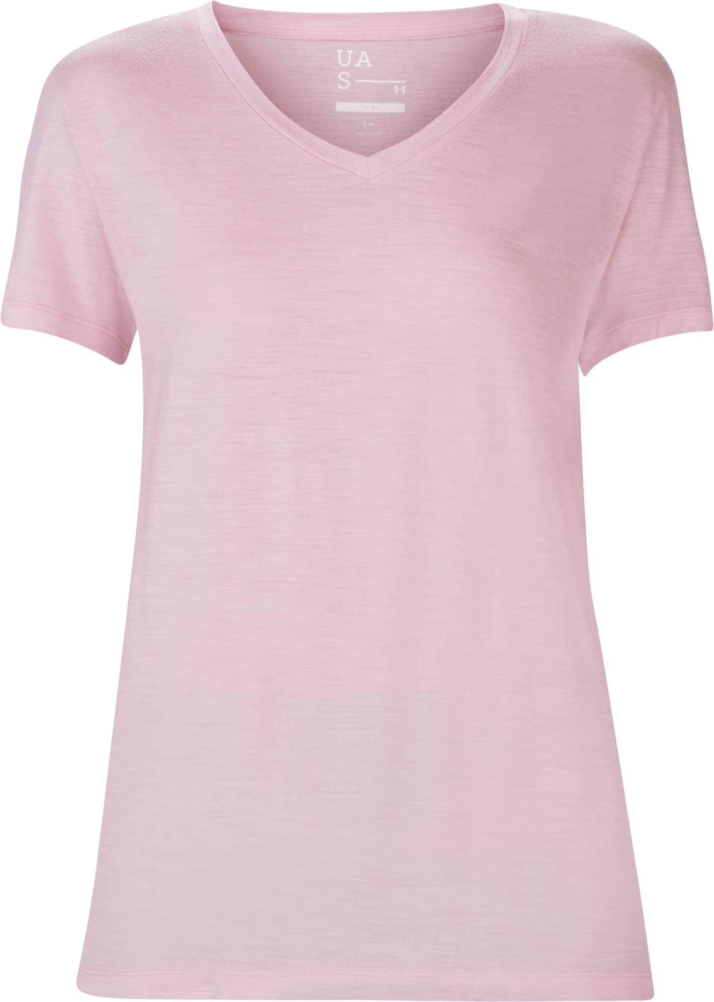 Women's UAS Prime Short Sleeve V-Neck, Pink, undefined