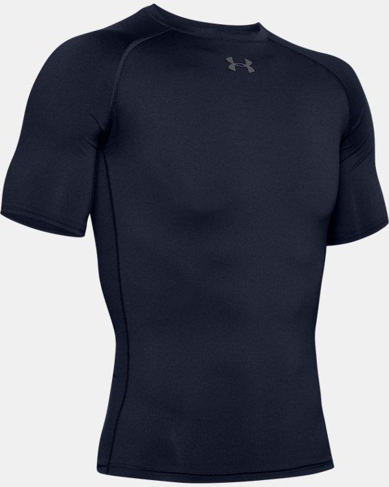 Men's HeatGear® Armour Compression Short Sleeve, Navy, pdpMainDesktop image number 4