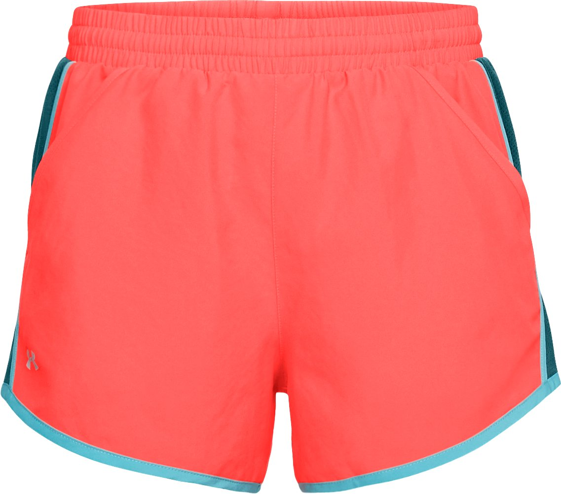Women's UA Fly-By Shorts, NEON CORAL,