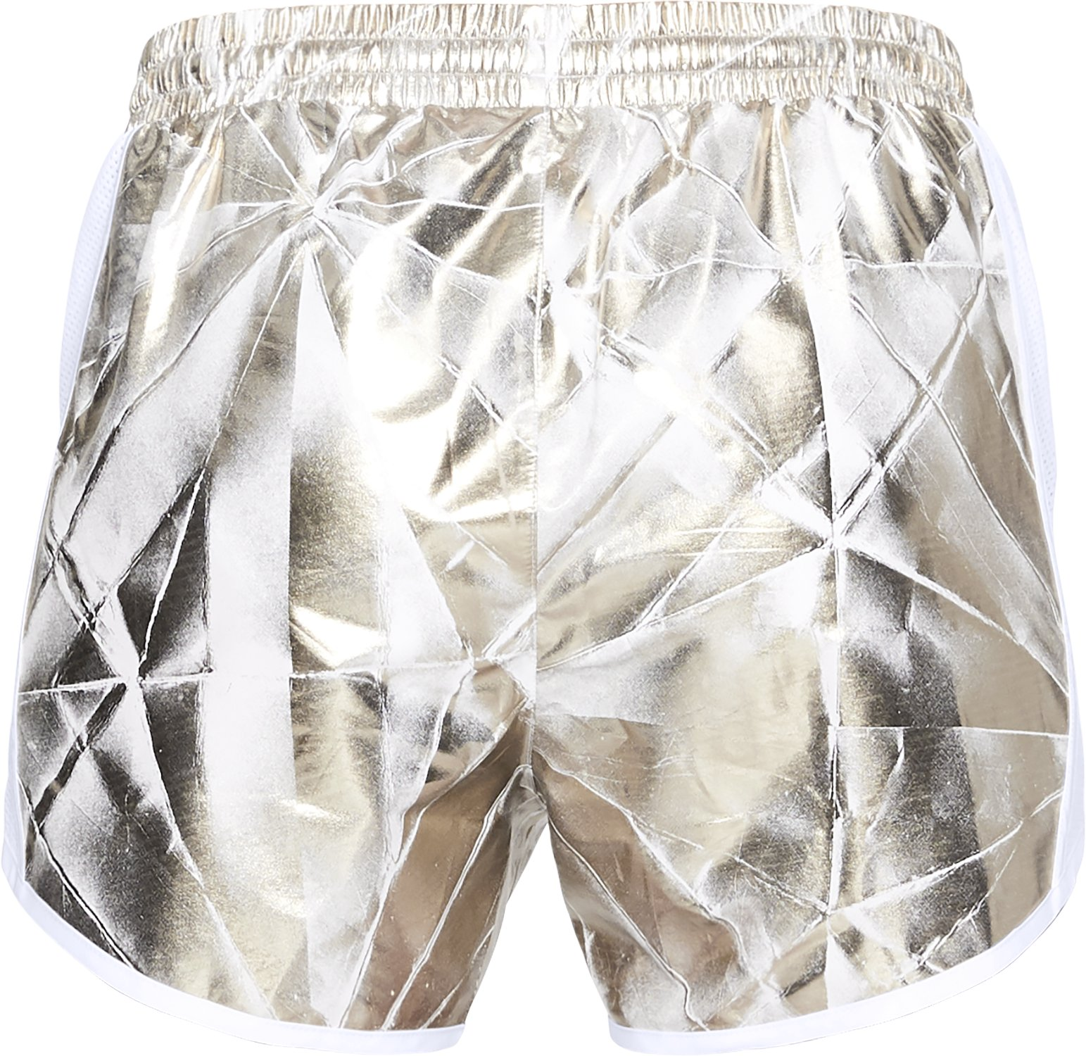 Women's UA Fly-By Printed Shorts, METALLIC CRISTAL GOLD,