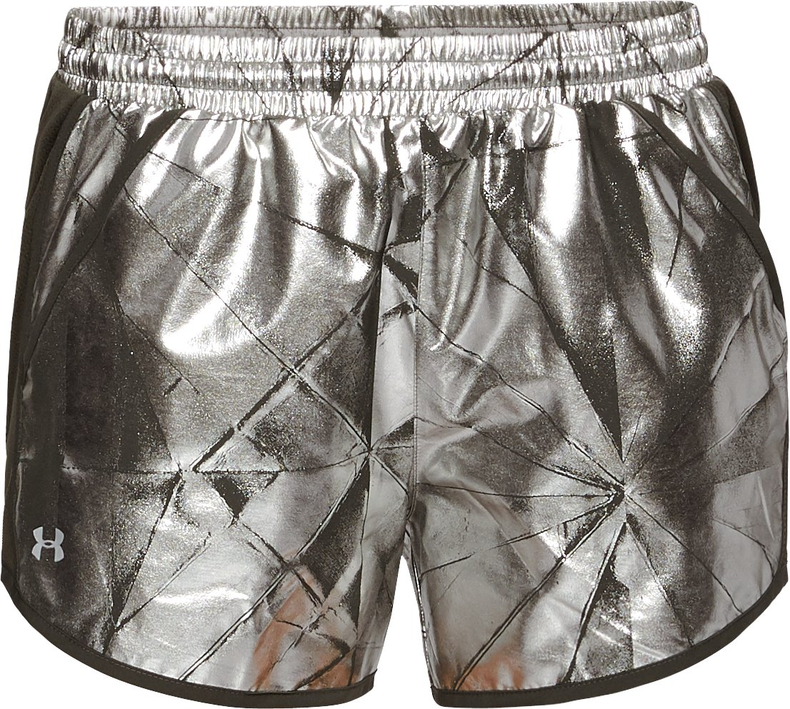 Women's UA Fly-By Printed Shorts, METALLIC FADED GOLD,