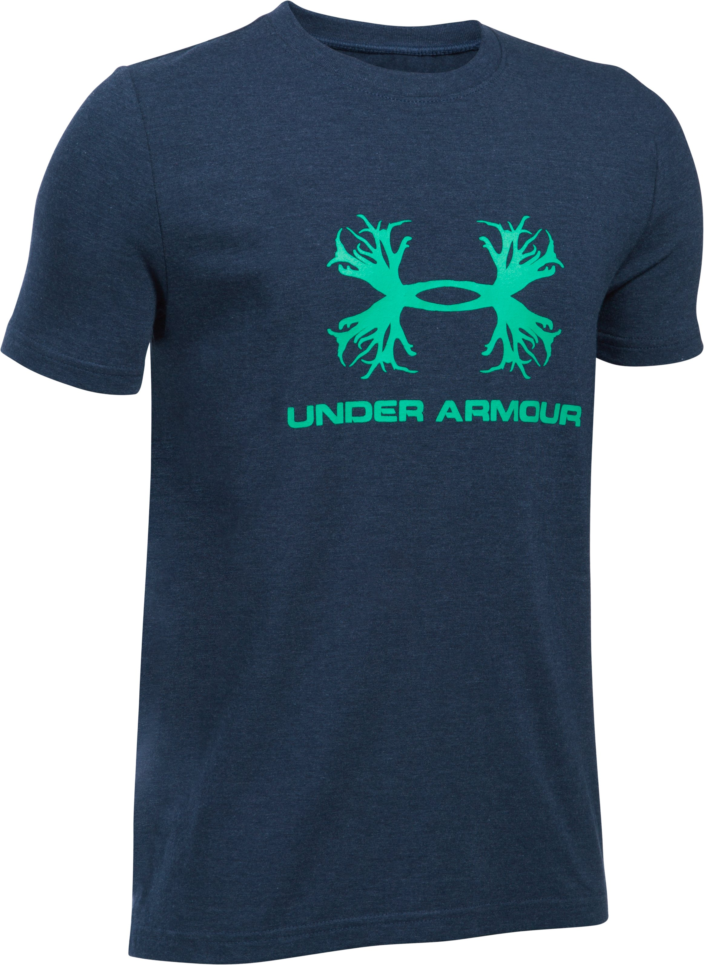 Boys' UA Antler Logo T-Shirt, MIDNIGHT NAVY MEDIUM HEATHER