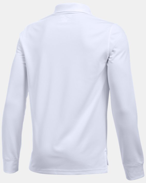Boys' Pre-School UA Uniform Long Sleeve Polo, White, pdpMainDesktop image number 1