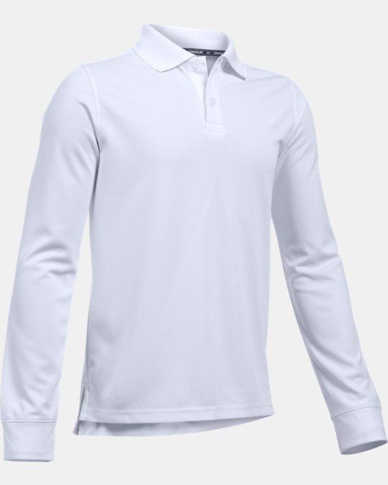 Boys' Pre-School UA Uniform Long Sleeve Polo, White, pdpMainDesktop image number 0