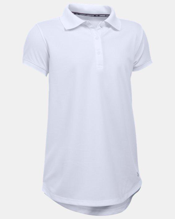 Girls' UA Uniform Short Sleeve Polo - Pre-School, White, pdpMainDesktop image number 0