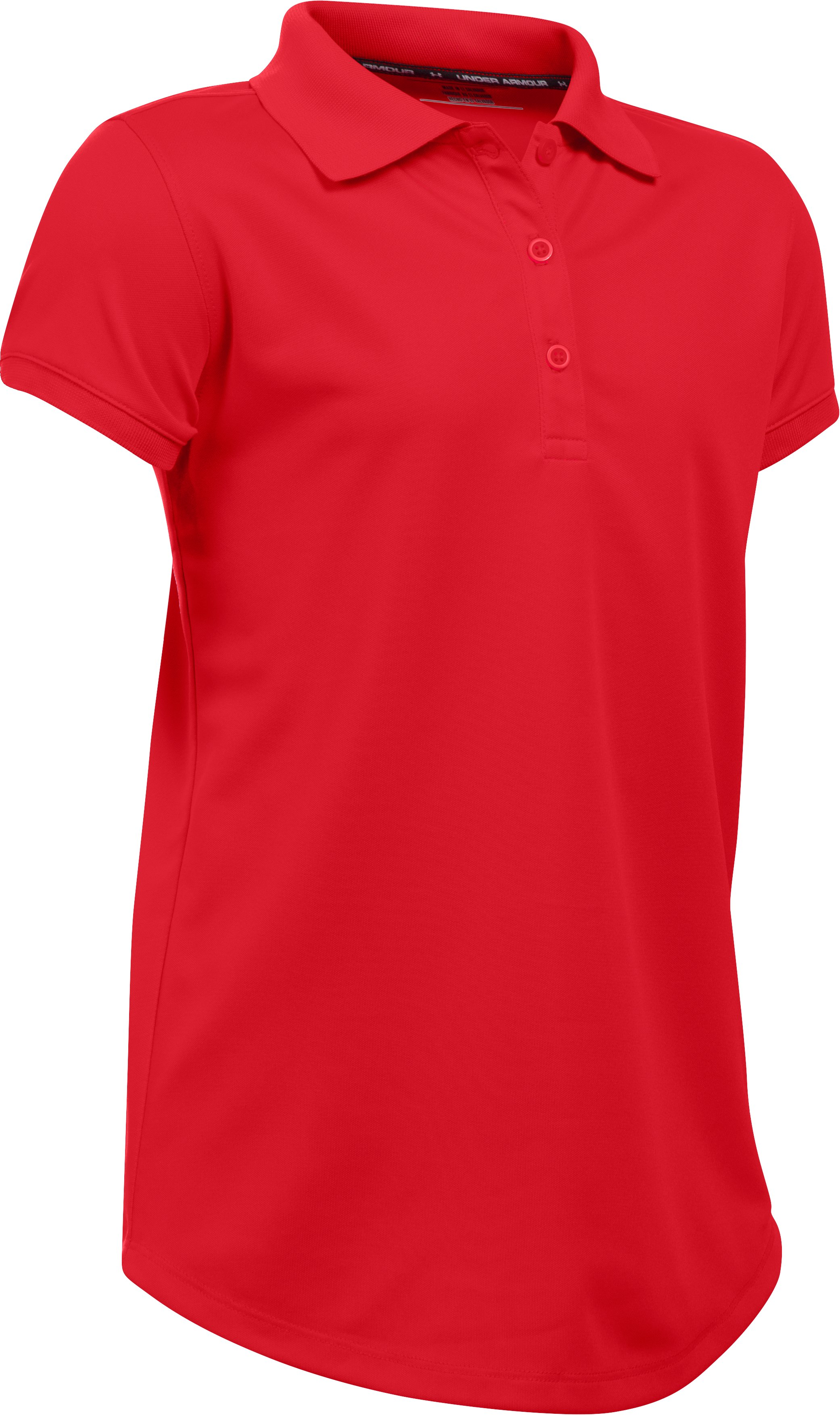 Girls' UA Uniform Short Sleeve Polo – Pre-School, Red,