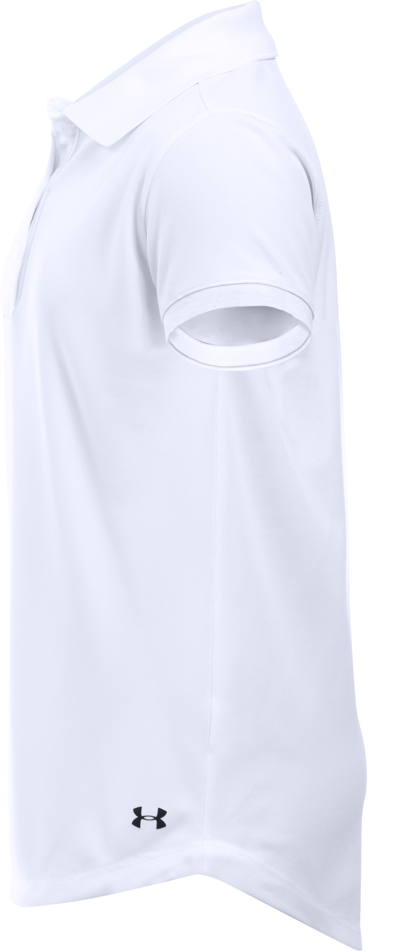Girls UA Uniform Short Sleeve Polo, White,