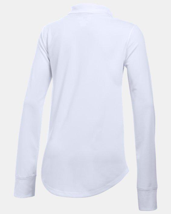 Girls' Pre-School UA Uniform Long Sleeve Polo, White, pdpMainDesktop image number 1