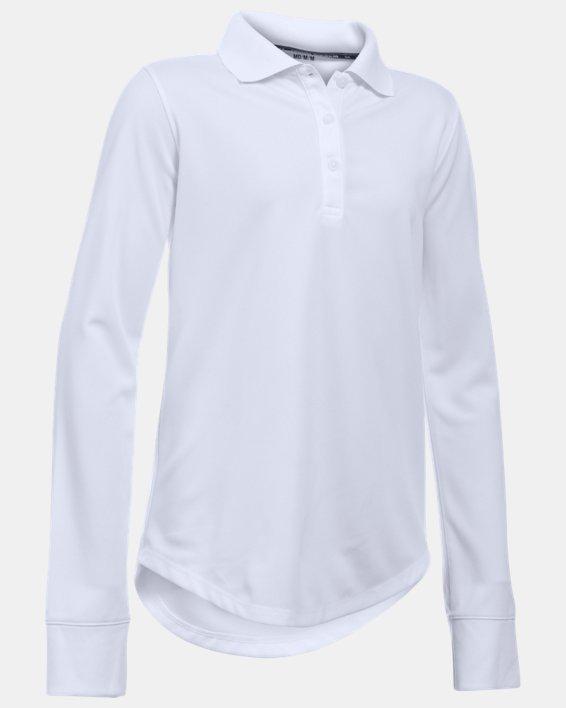 Girls' UA Uniform Long Sleeve Polo, White, pdpMainDesktop image number 0