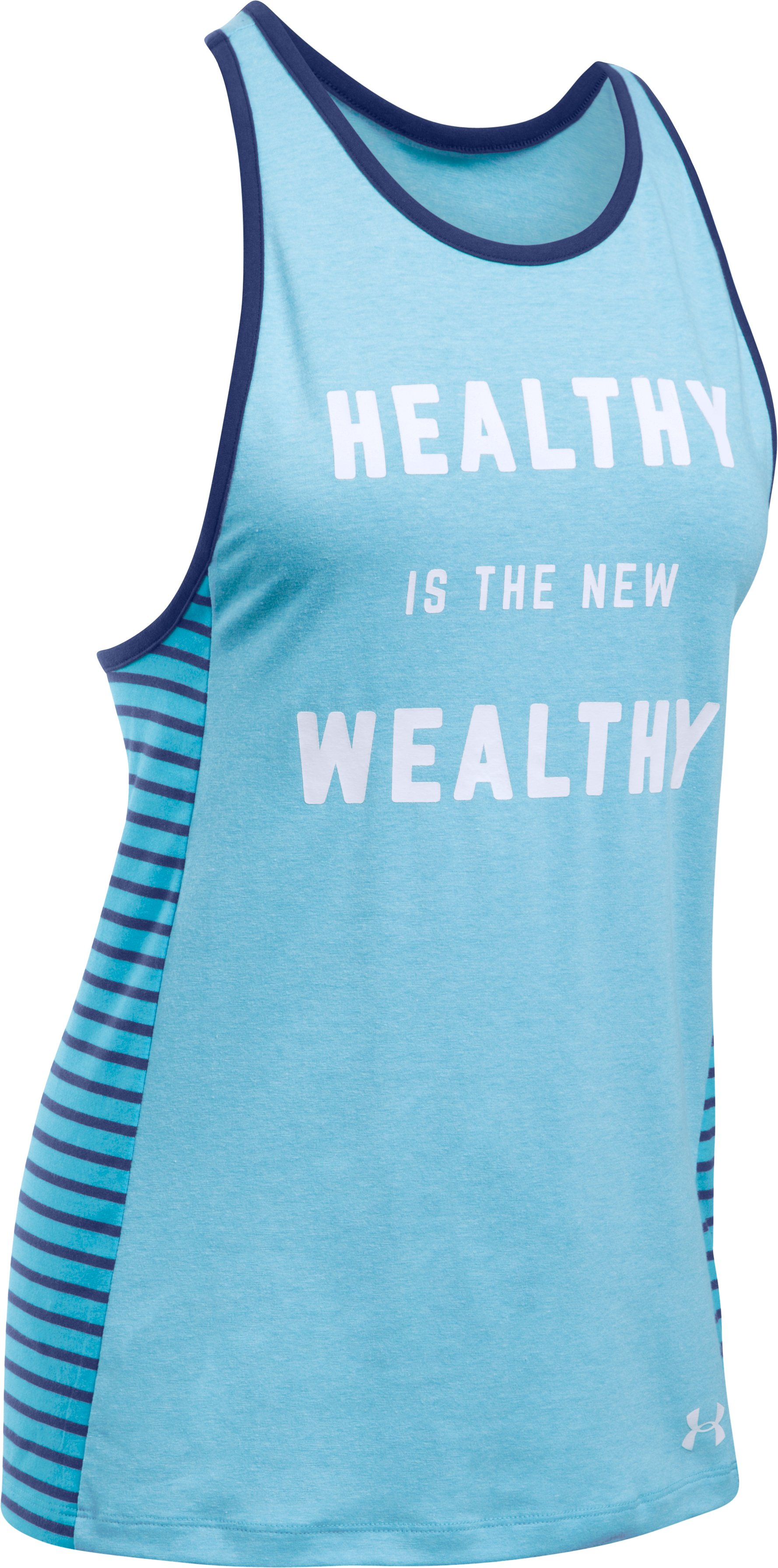 Women's UA Rest Day Healthy Wealthy Tank, ISLAND BLUES LIGHT HEATHER,