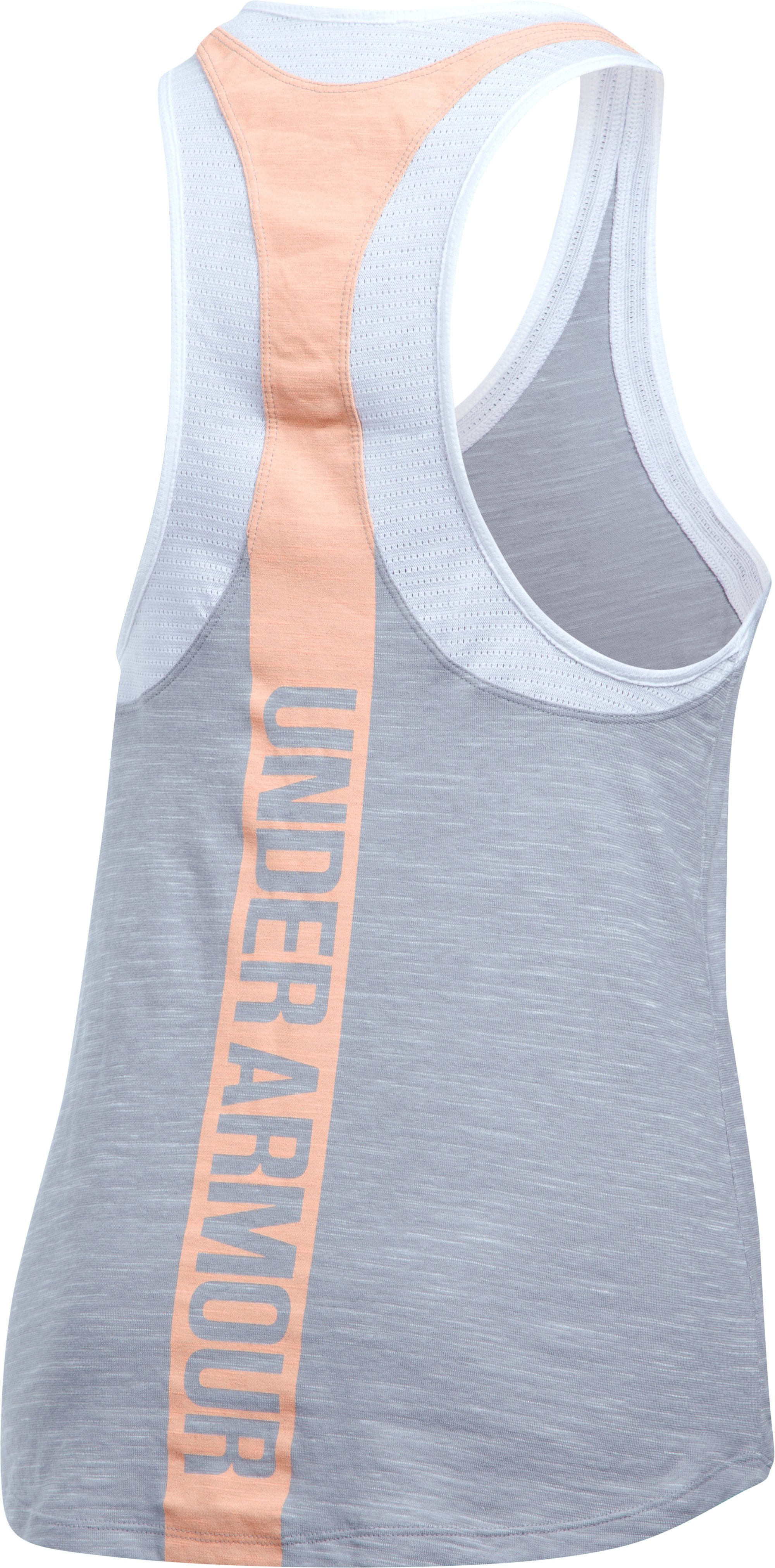 Women's UA Mesh Wordmark Tank, True Gray Heather,