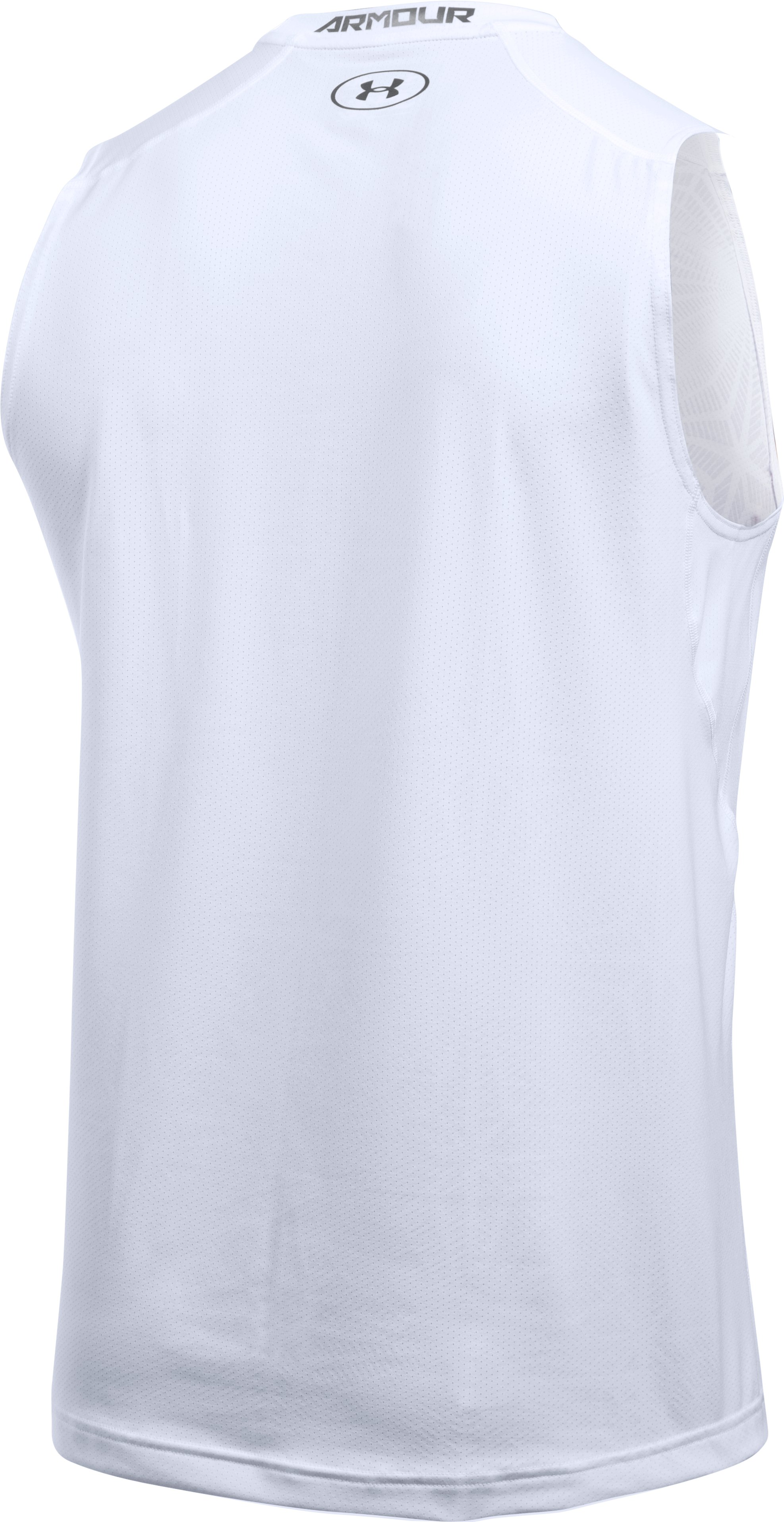 Men's HeatGear® CoolSwitch Fitted Sleeveless, White, undefined
