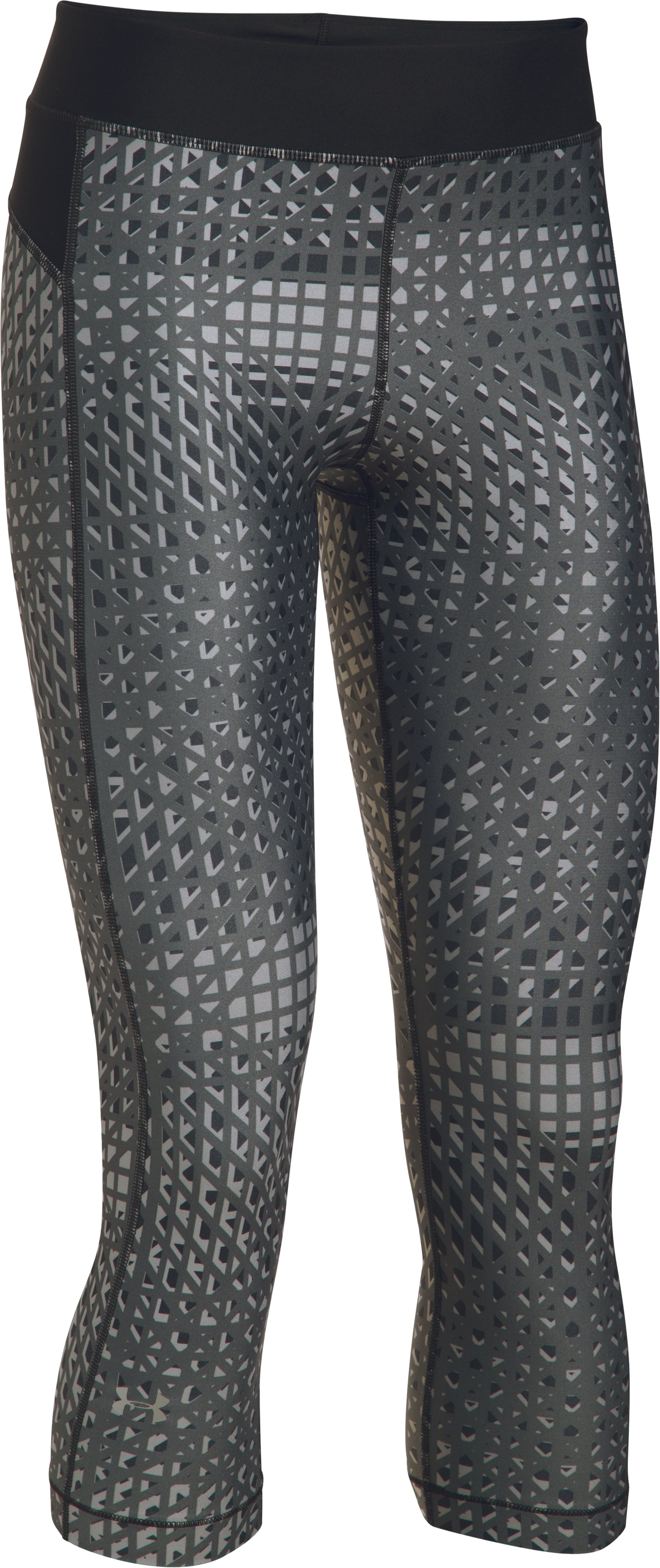 Women's UA HeatGear® Armour Printed Capris, Black ,