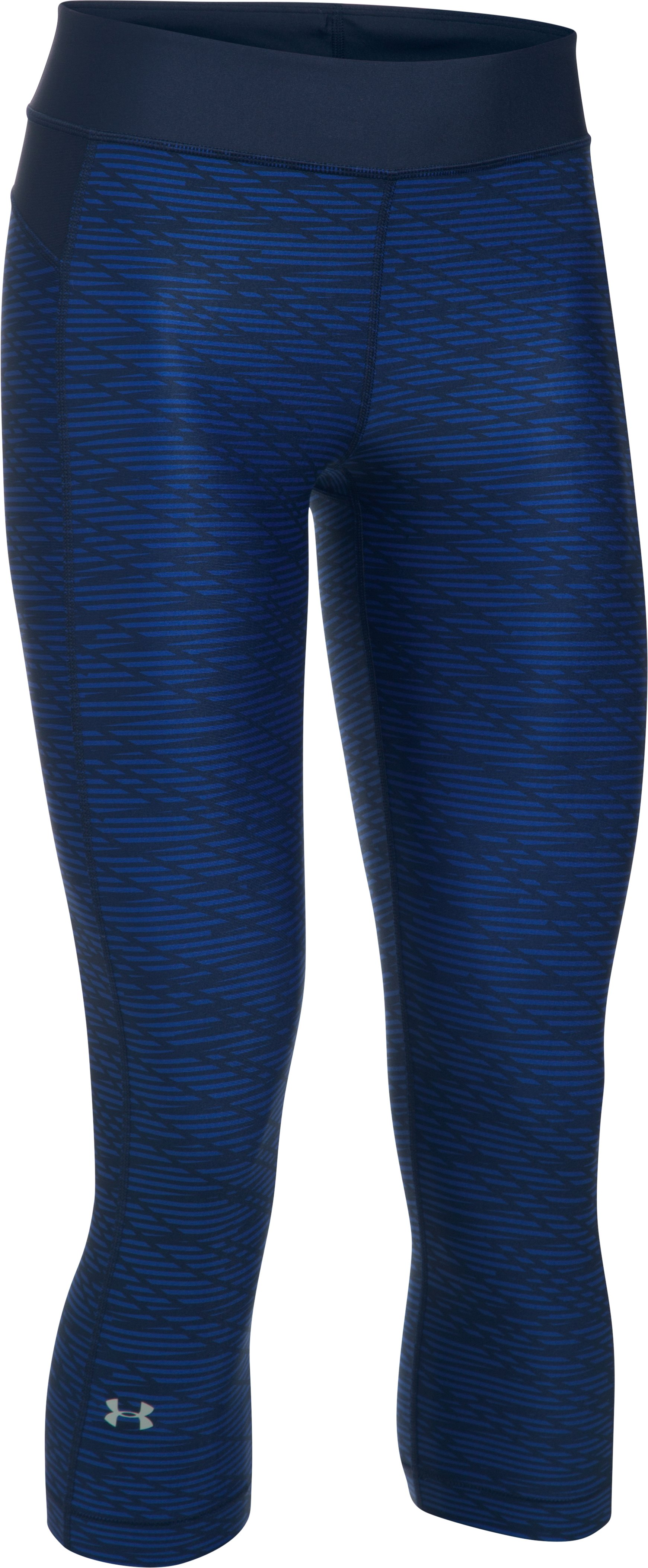 Women's UA HeatGear® Armour Printed Capris, Midnight Navy, undefined
