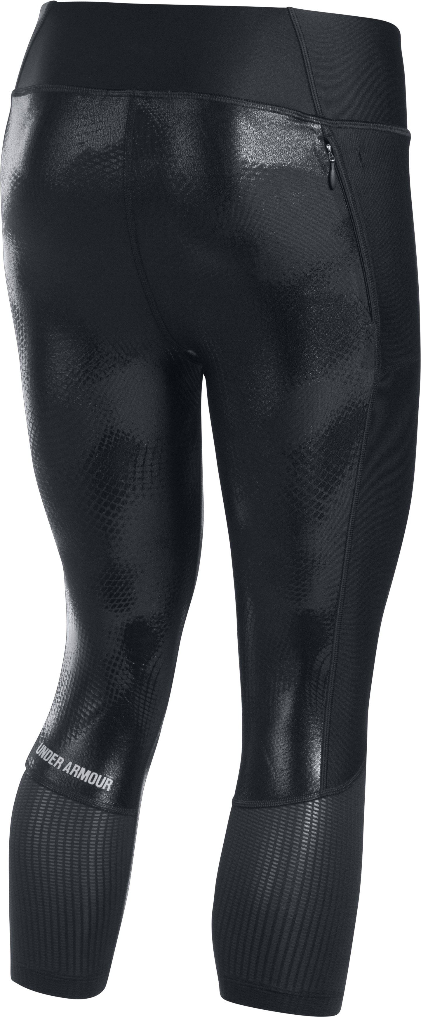 Women's UA Fly-By Printed Capris, Black , undefined