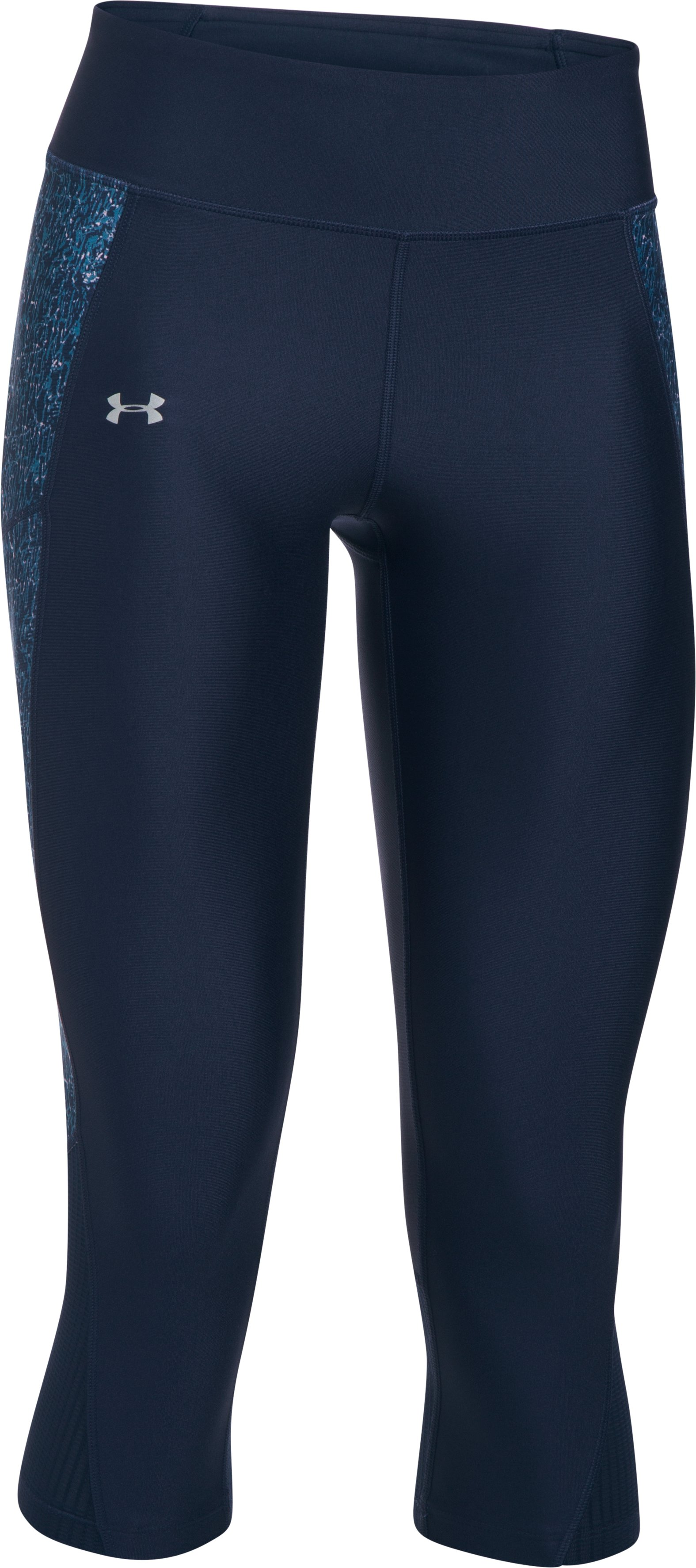Women's UA Fly-By Printed Capris, Midnight Navy, undefined