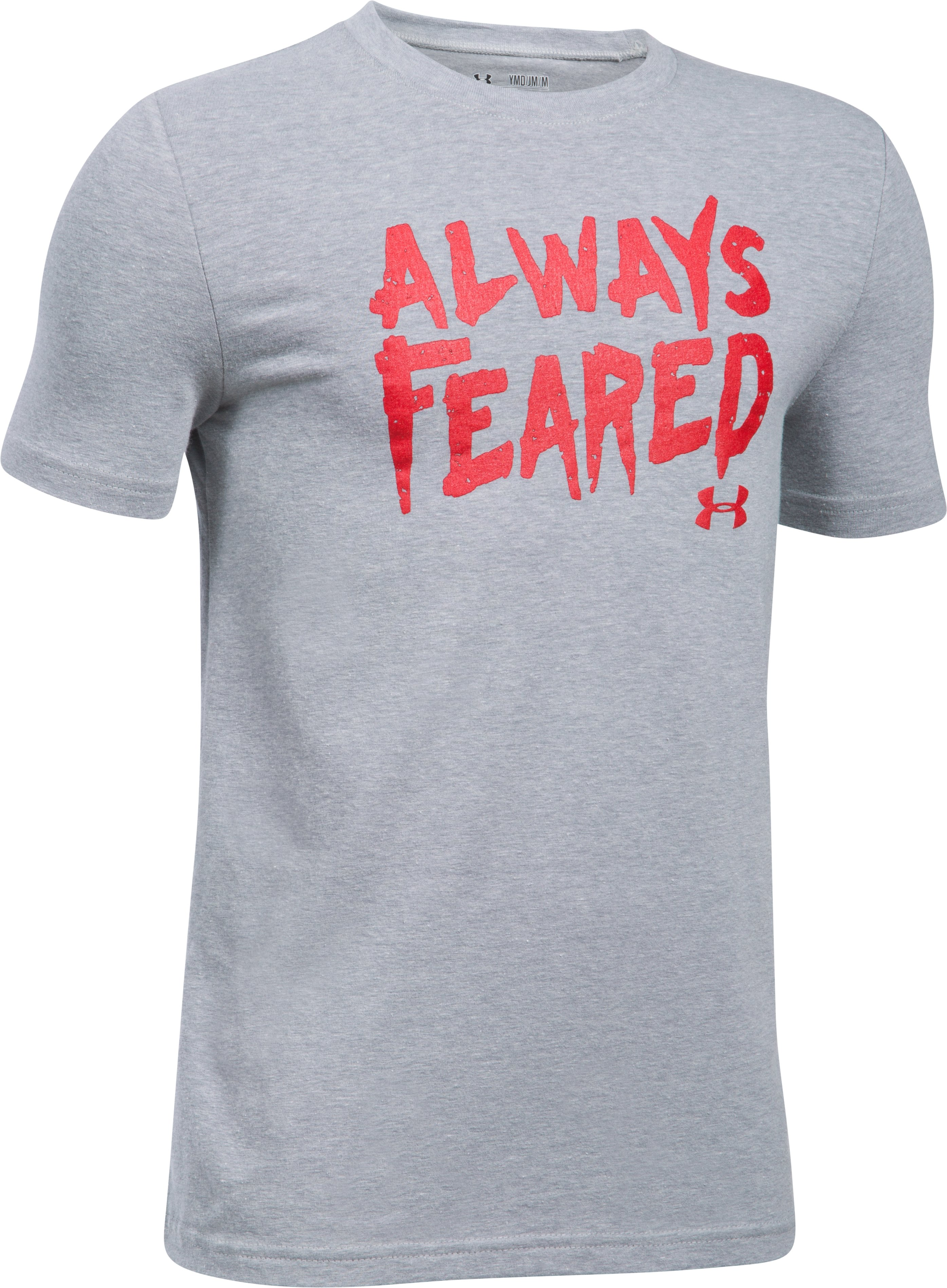 Boys' UA Feared Always T-Shirt, STEEL LIGHT HEATHER