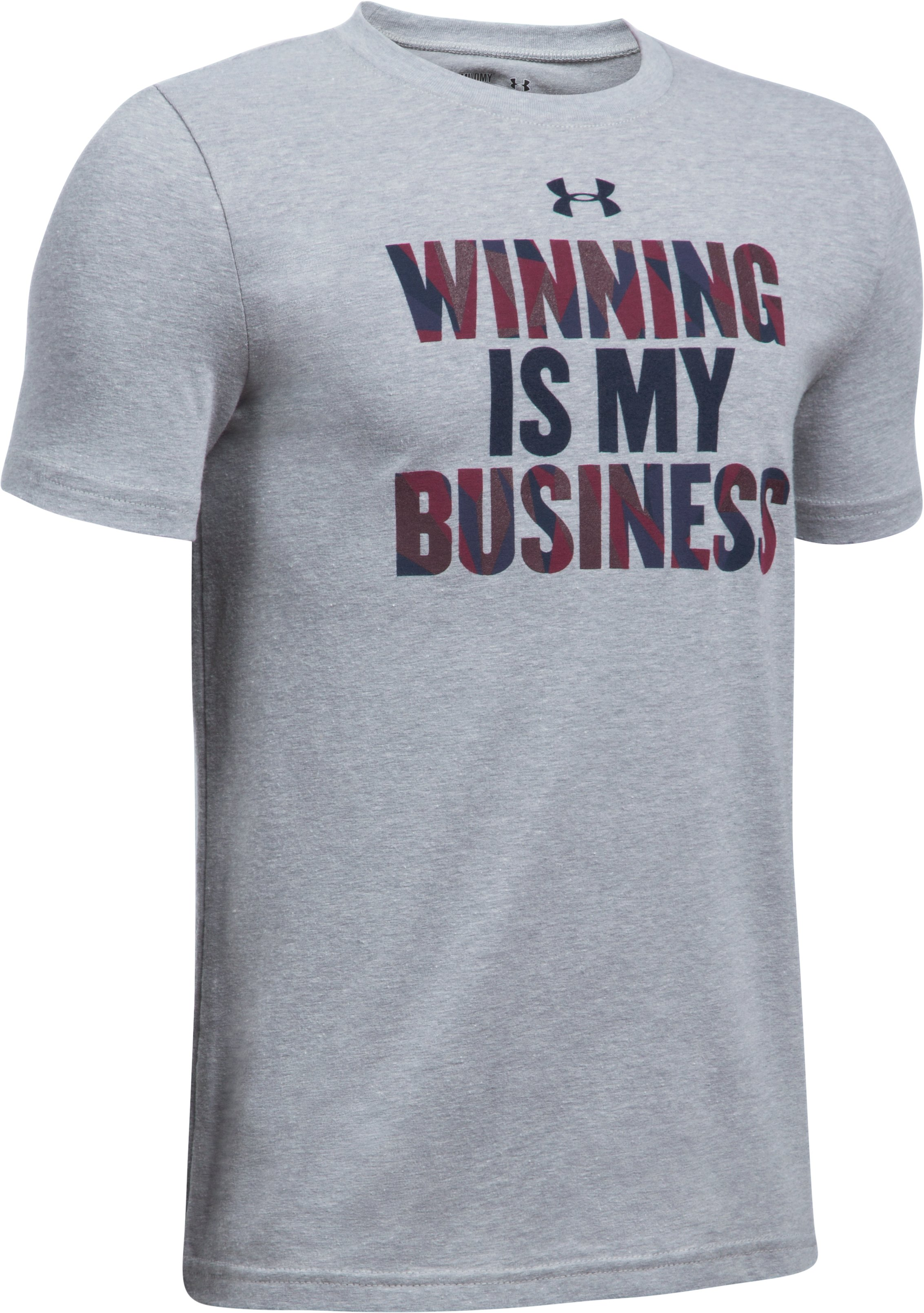 Boys' UA Winning Business T-Shirt, STEEL LIGHT HEATHER