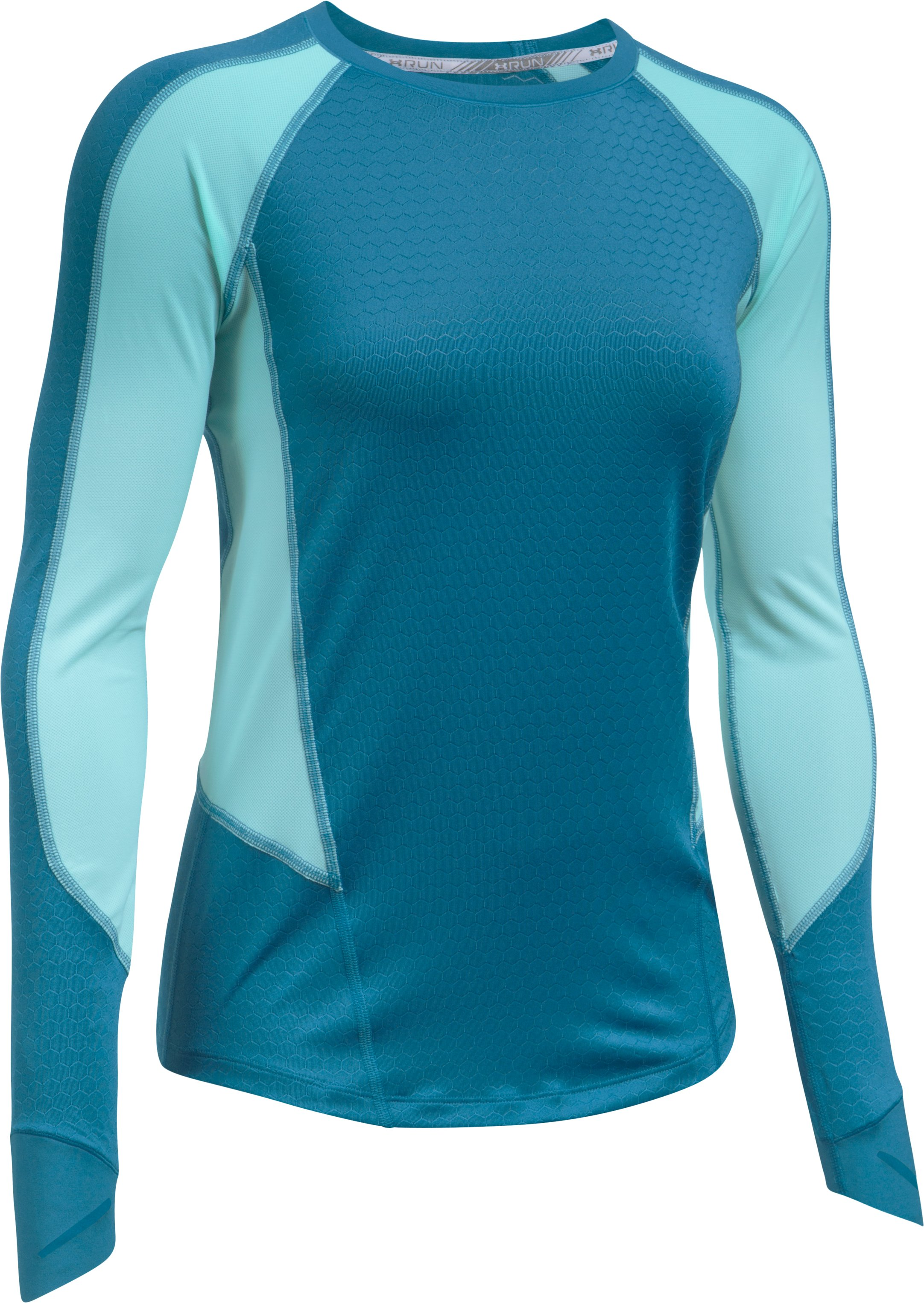 Women's UA HexDelta Long Sleeve, BAYOU BLUE
