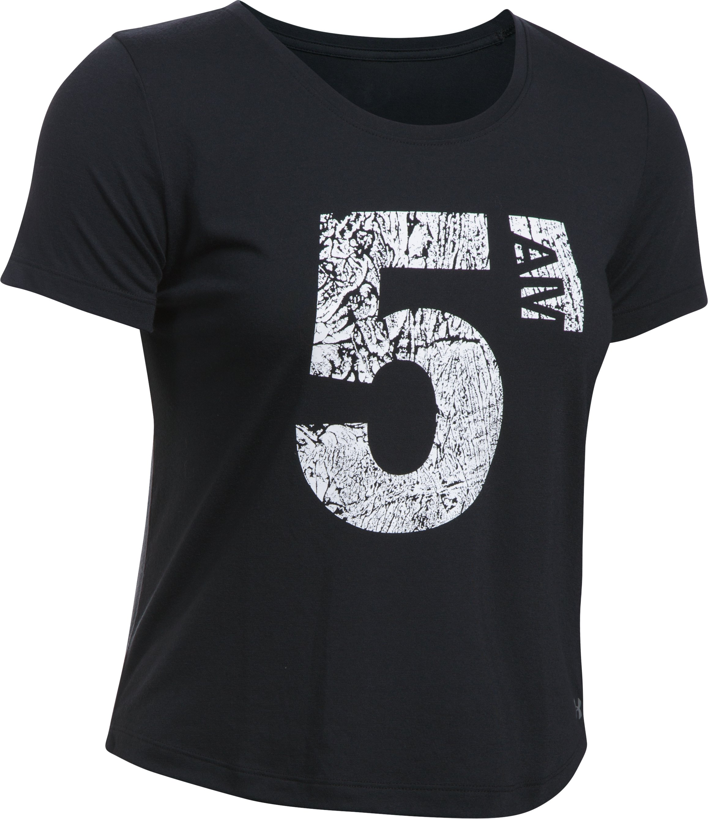 Women's UA 5 AM Boxy T-Shirt, Black , undefined