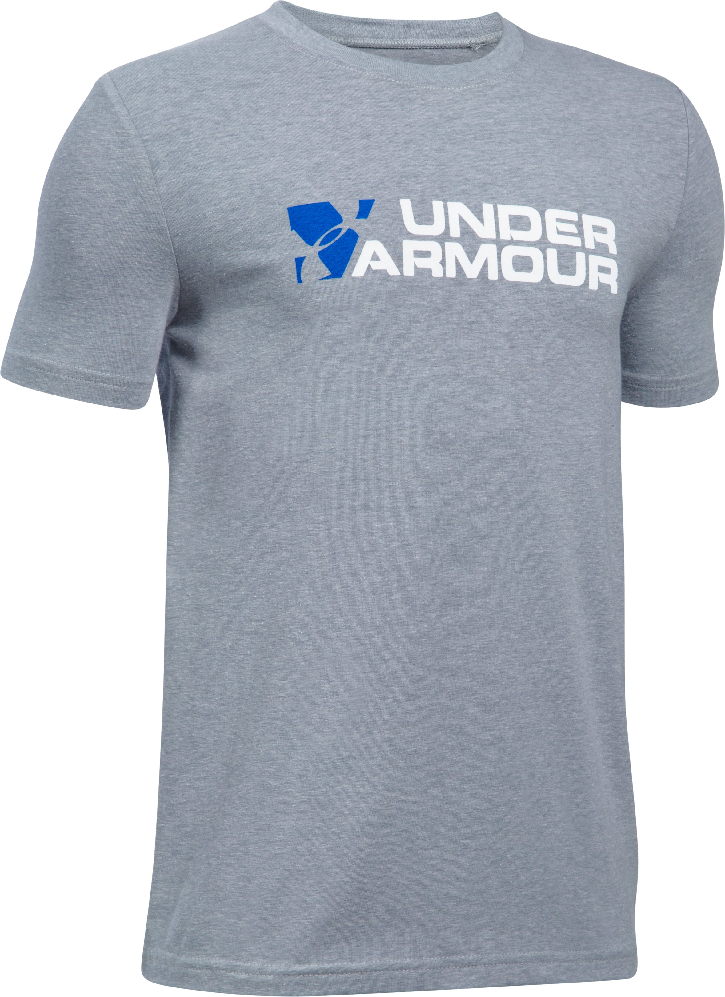 Boys' UA Duo Branded T-Shirt, STEEL LIGHT HEATHER,