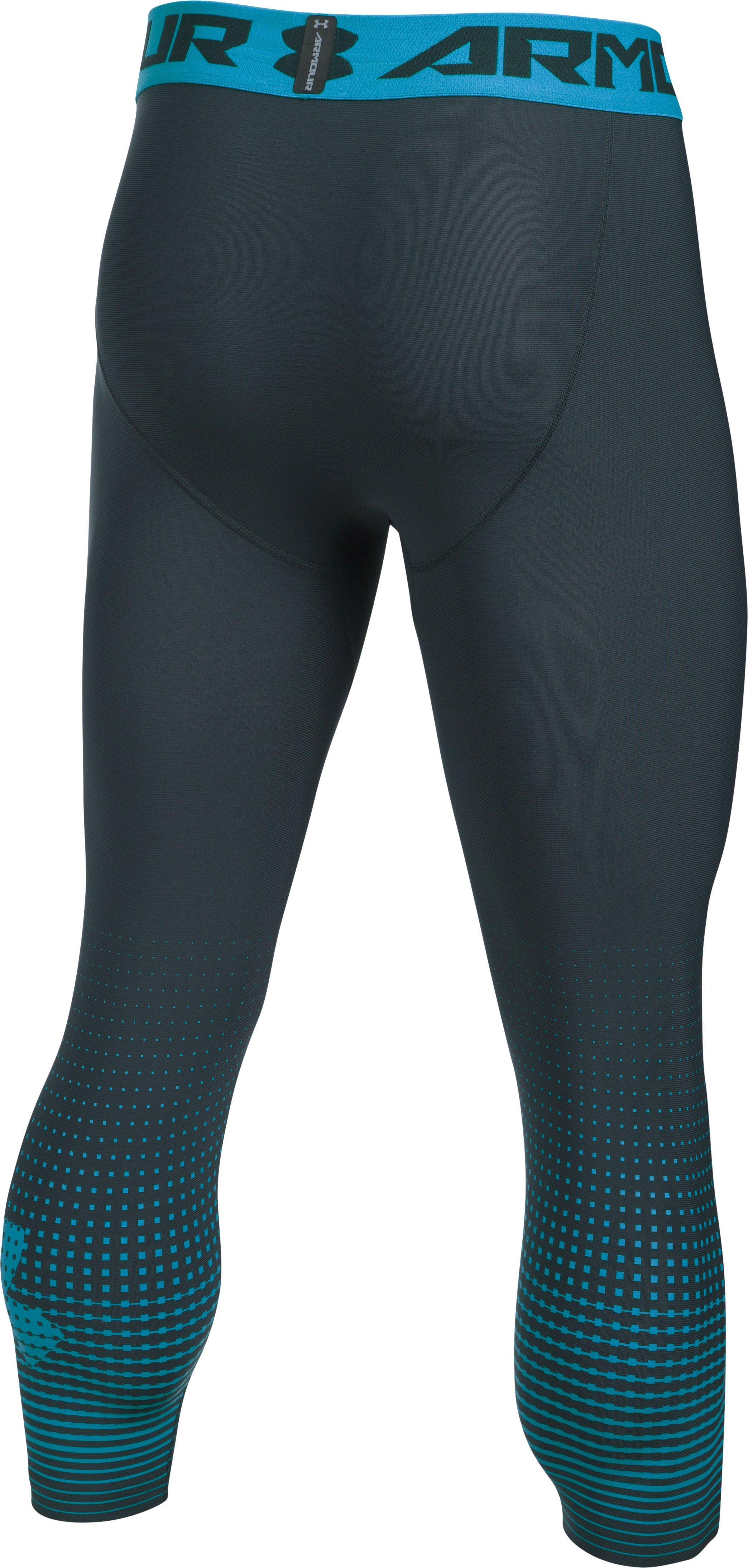 Men's HeatGear® Armour Graphic ¾ Leggings, STEALTH GRAY,