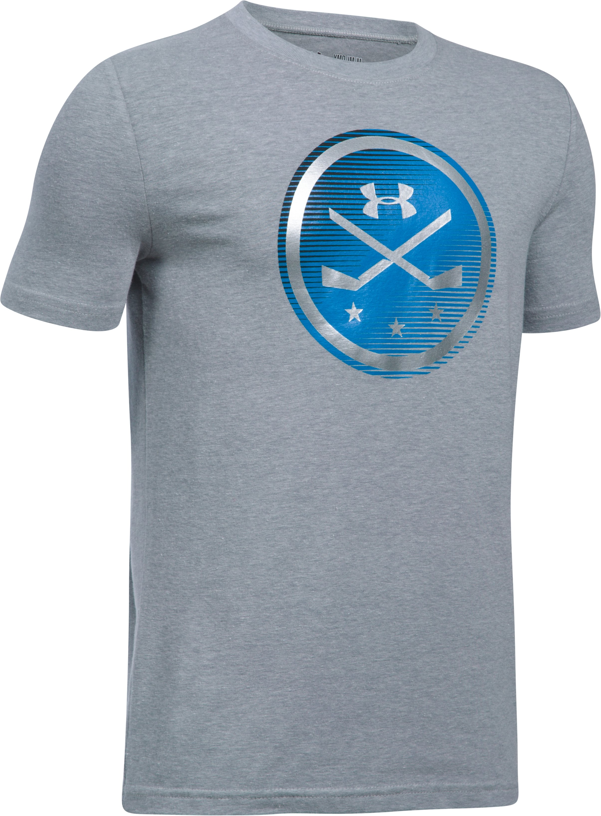 Boys' UA Hockey Logo T-Shirt, STEEL LIGHT HEATHER,
