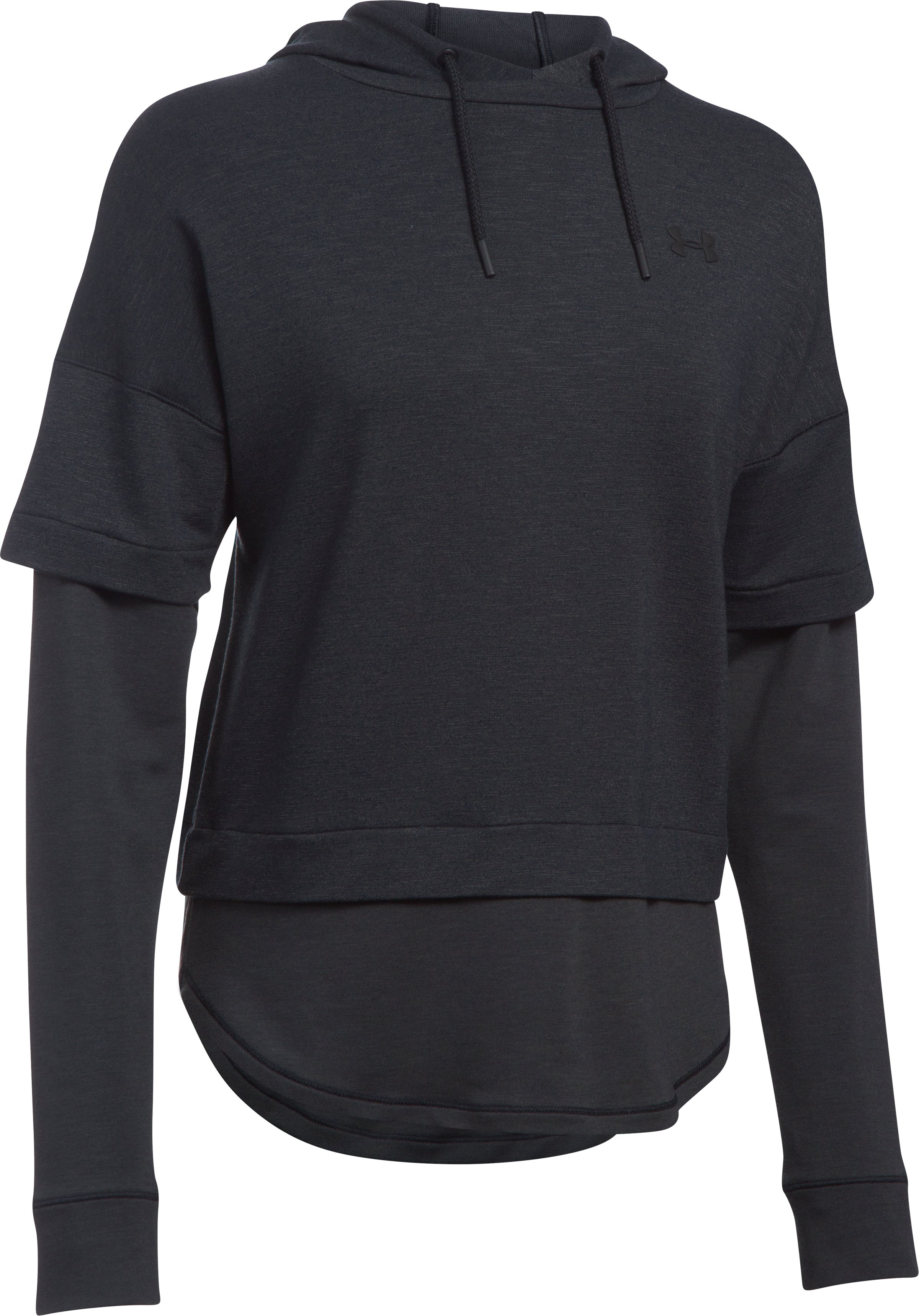 Women's UA Featherweight Fleece Faux 2-in-1 Hoodie, Black ,
