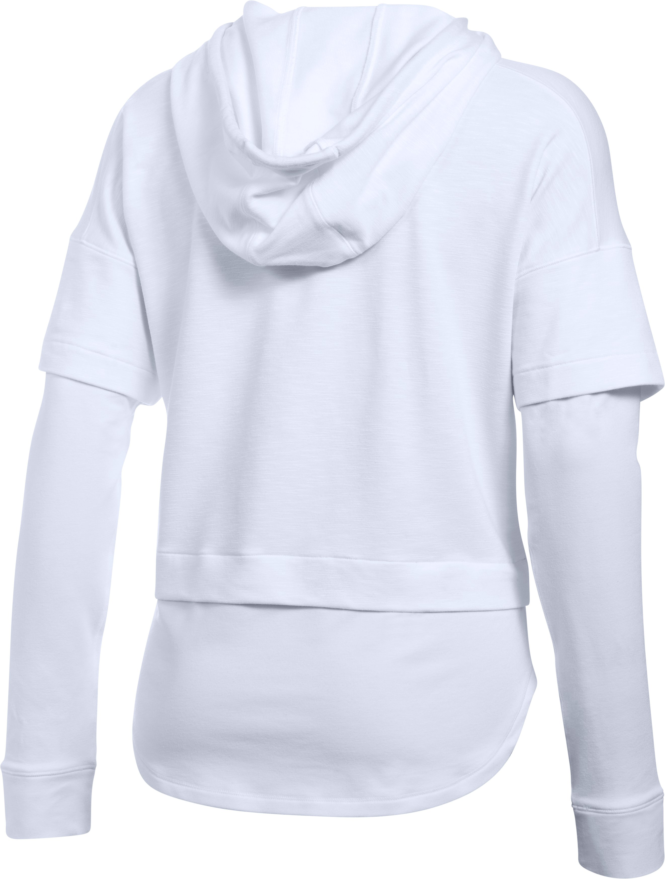 Women's UA Featherweight Fleece Faux 2-in-1 Hoodie, White, undefined